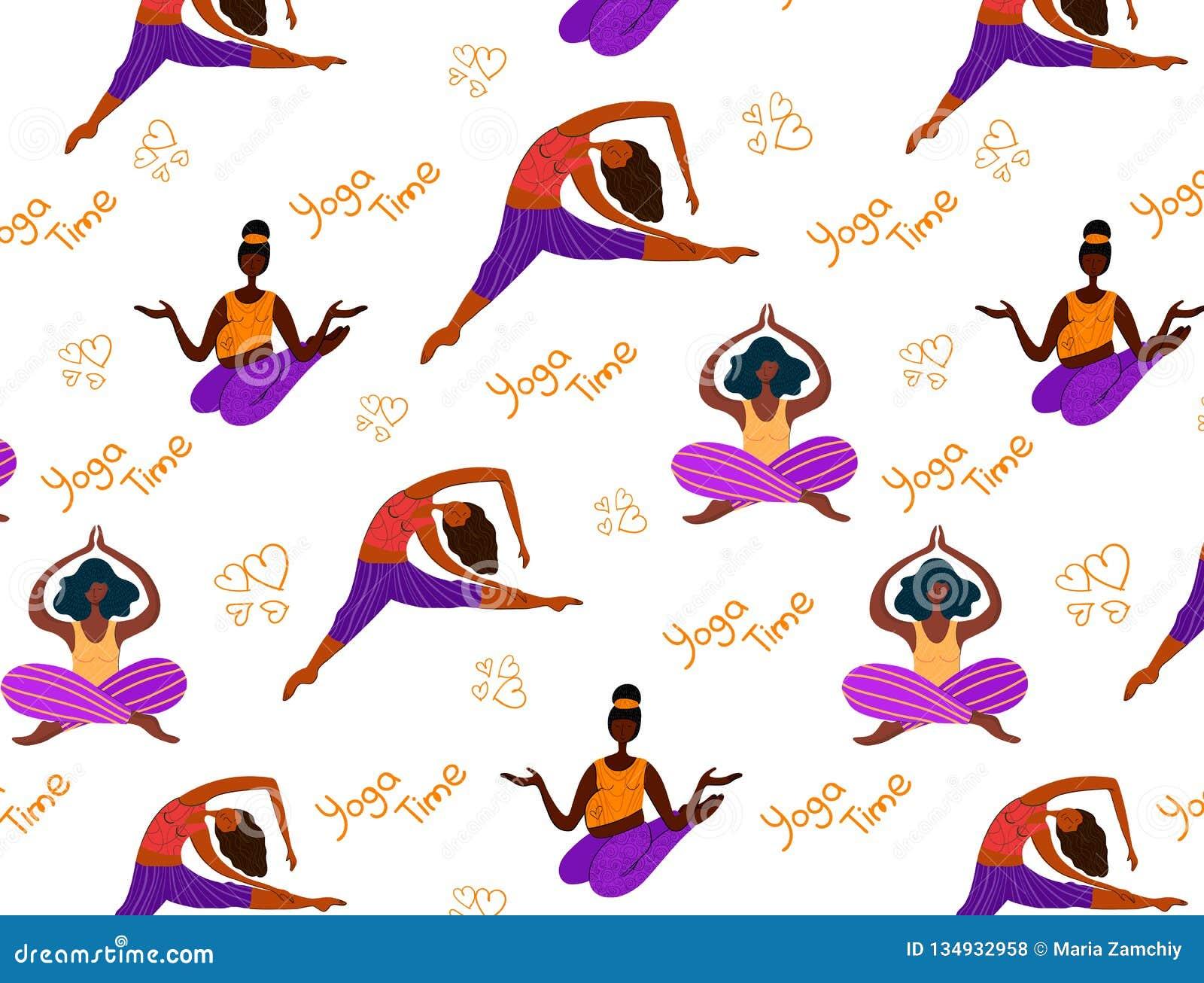 Muchachas de la yoga del vector
