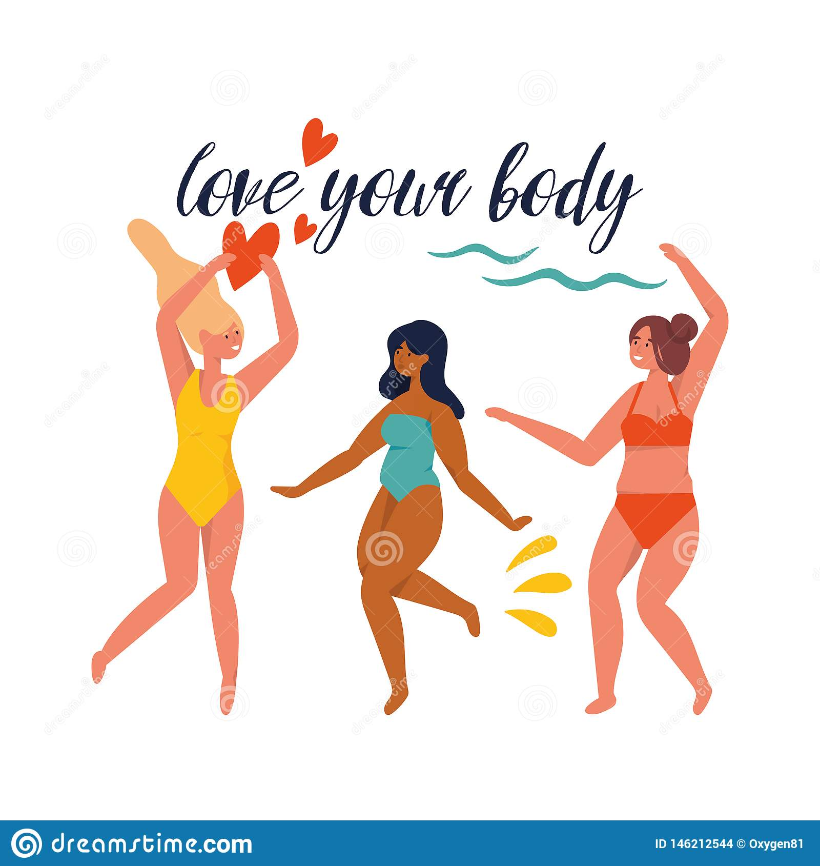 Muchachas felices del tamaño extra grande del ejemplo del vector que llevan el traje de baño en el movimiento Positivo del cuerpo