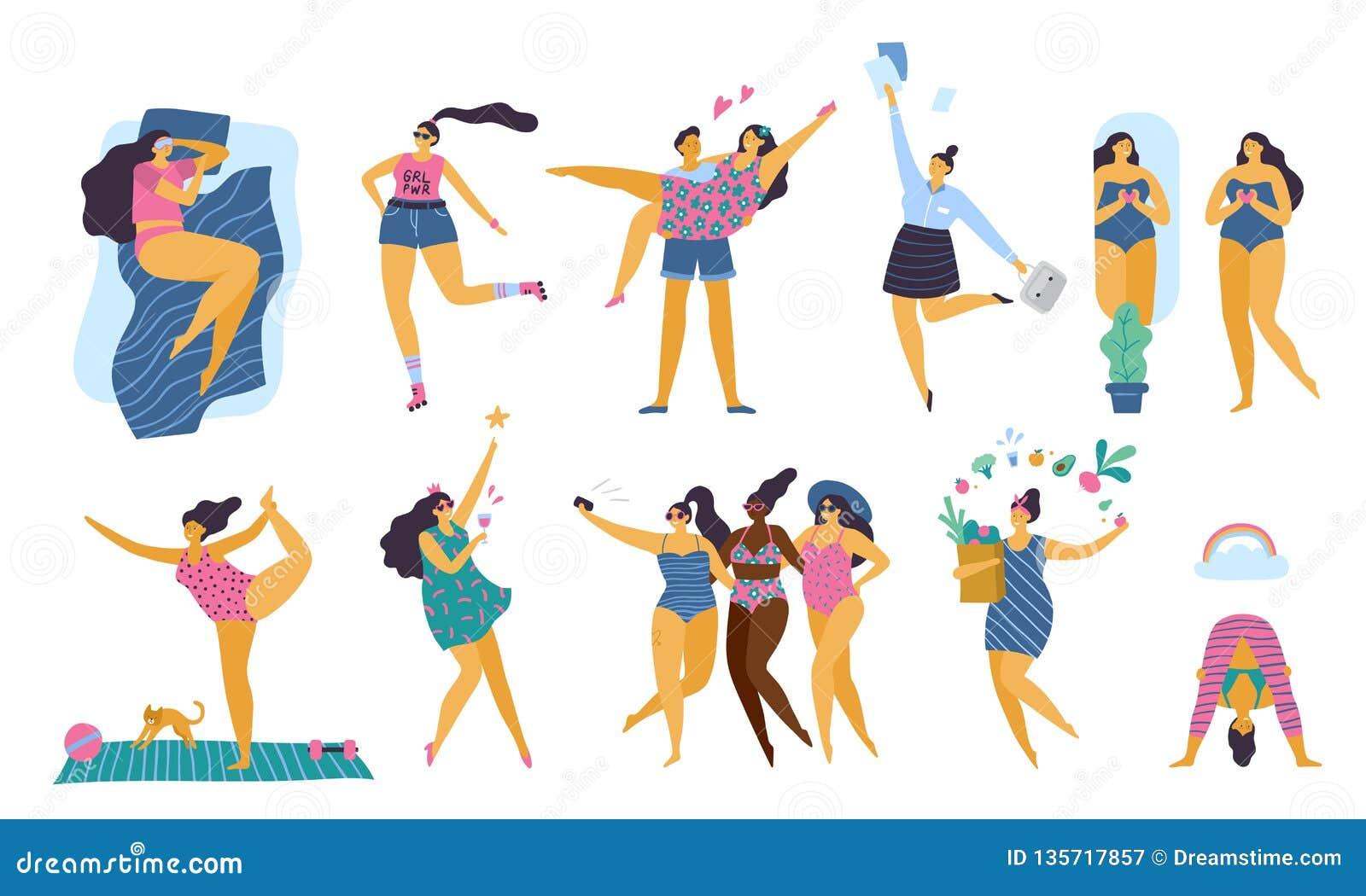 Muchachas positivas del cuerpo feliz con la forma de vida sana que hace yoga, deporte, amor y la diversión