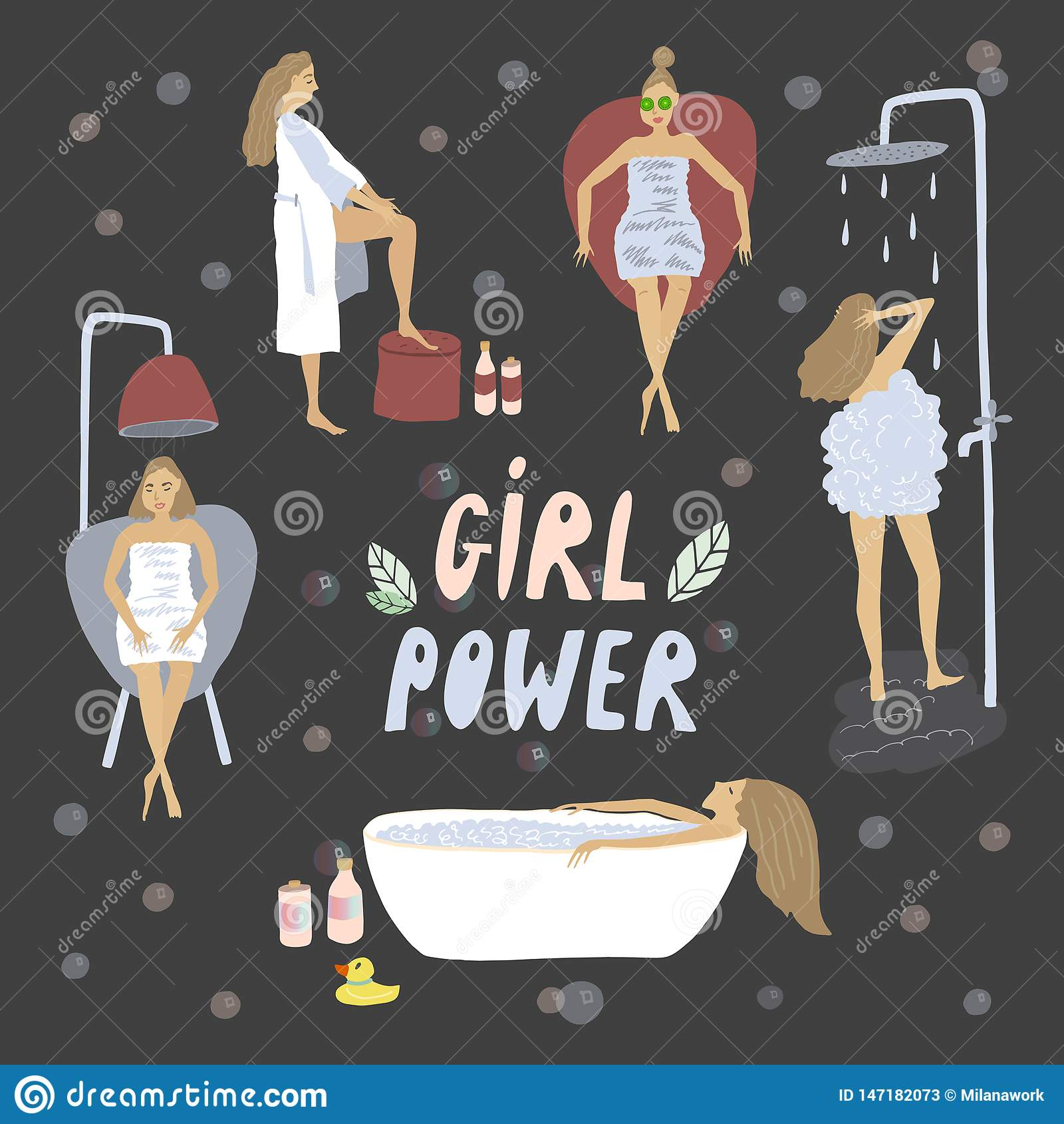 Muchachas que cuidan para ellos mismos El baño y la ducha se relajan Ejemplo del vector del cuidado de piel