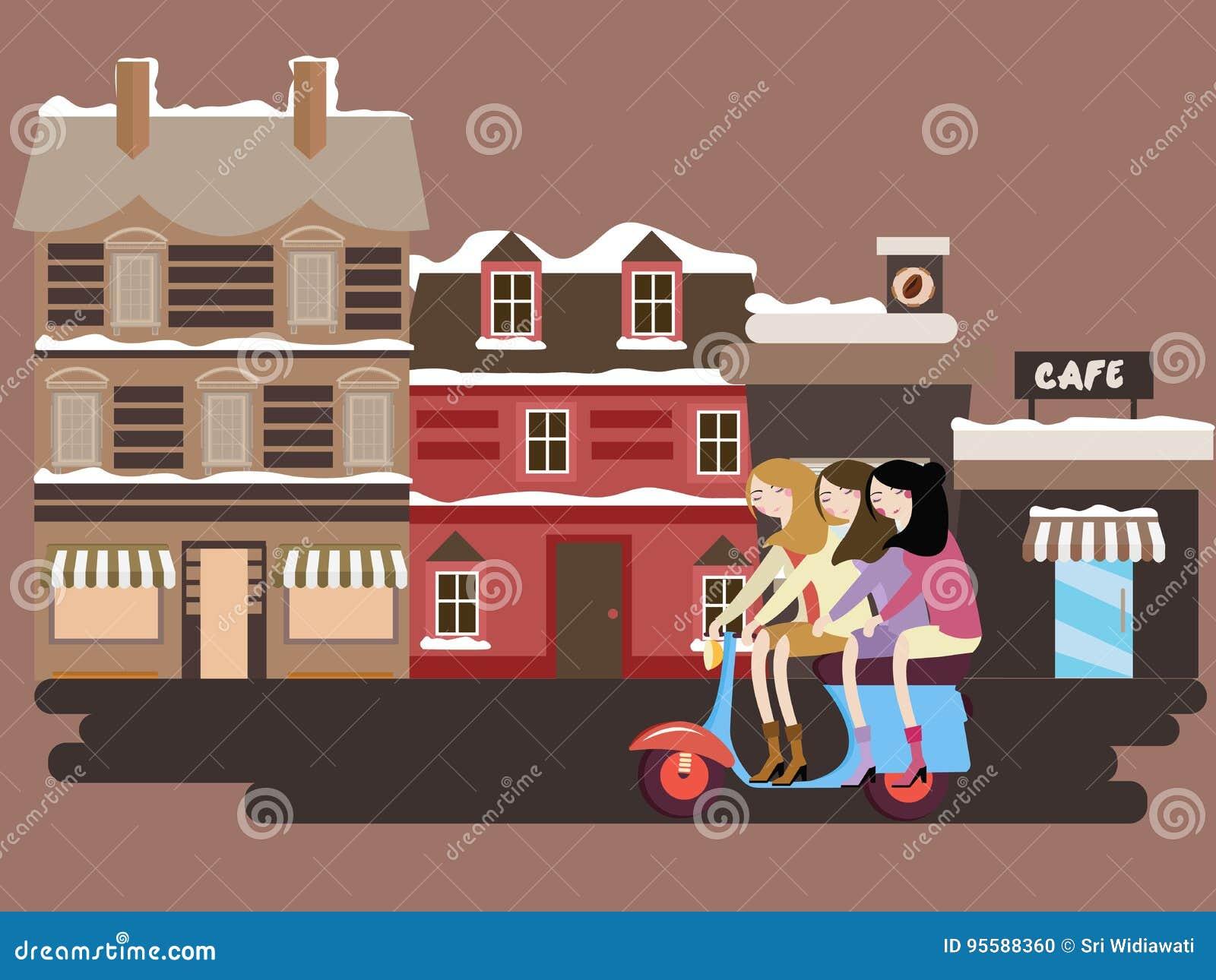 Muchachas que montan la vespa delante de fachadas constructivas viejas del estilo del vintge de Europa de la calle