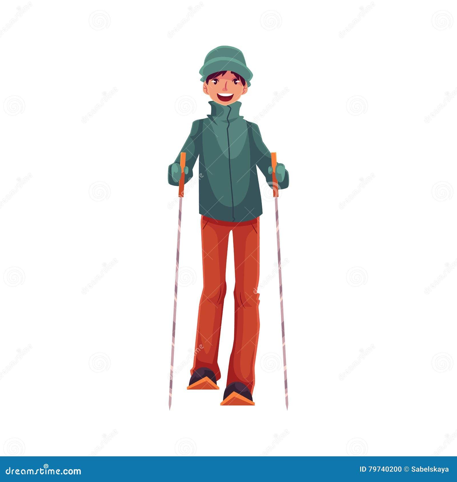 Muchacho caucásico Adolescente-envejecido con el esquí y los polos