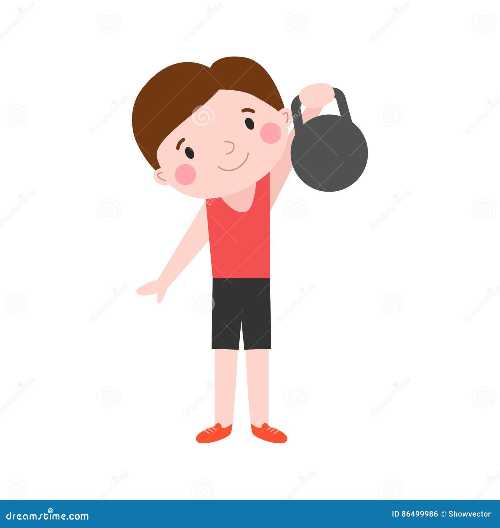 Muchacho Con Deporte Atletico Del Nino De La Aptitud De Las Pesas De Gimnasia De La Energia Sana Atractiva De La Forma De Vida Y Ilustracion Del Vector Ilustracion De Gimnasia