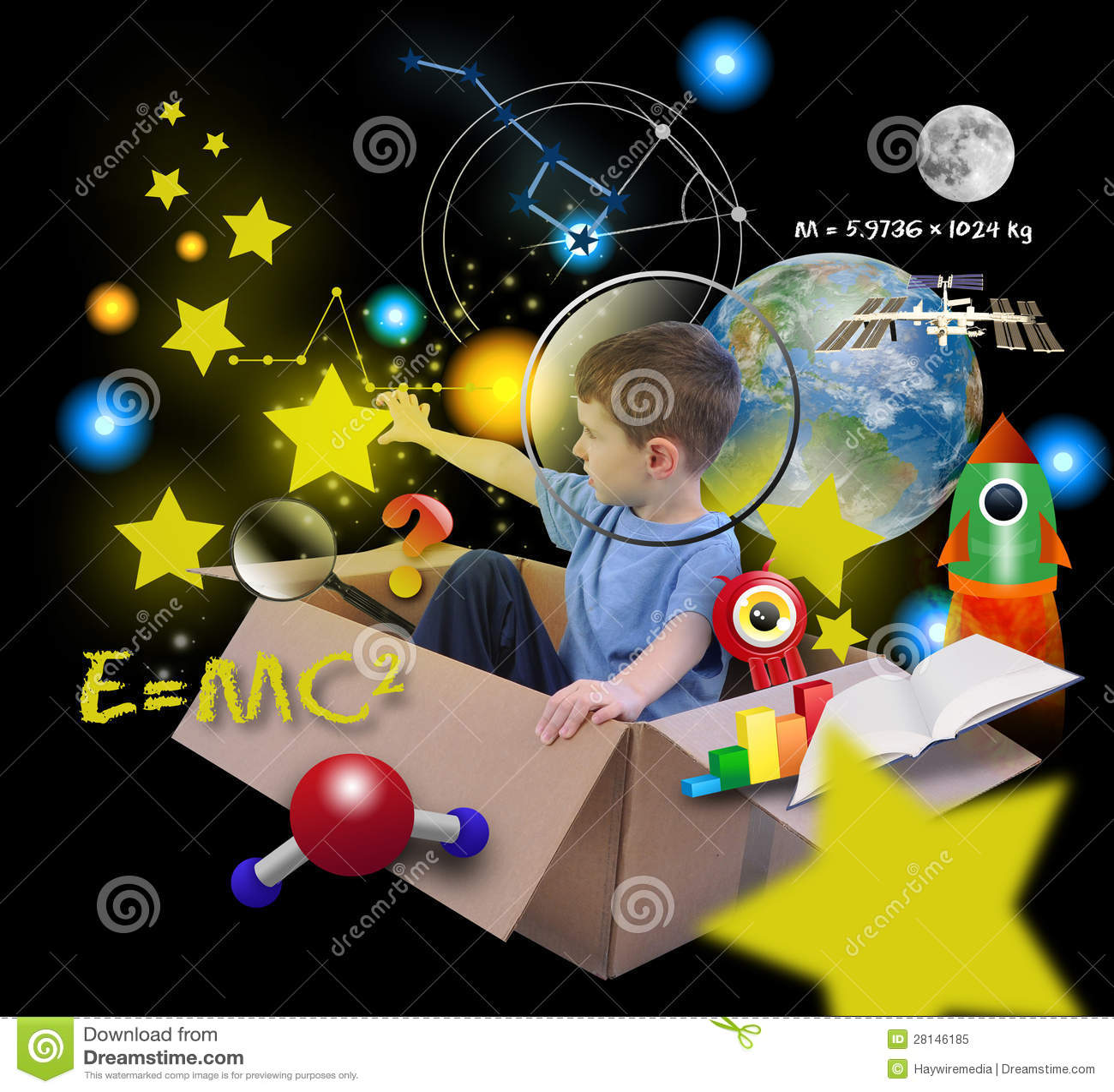 Muchacho de la ciencia espacial en rectángulo con las estrellas en negro