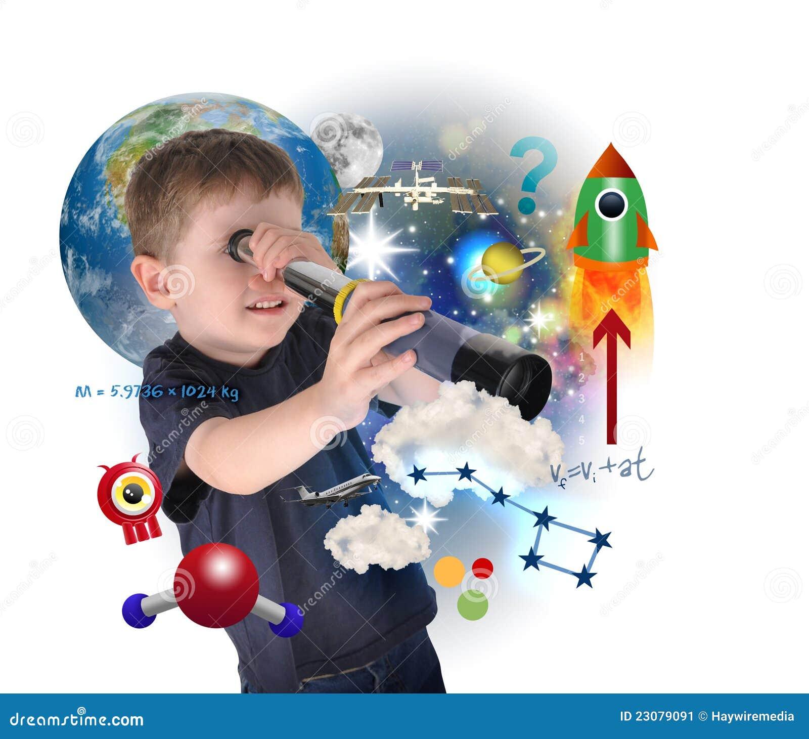 Muchacho de la ciencia que explora y que aprende el espacio