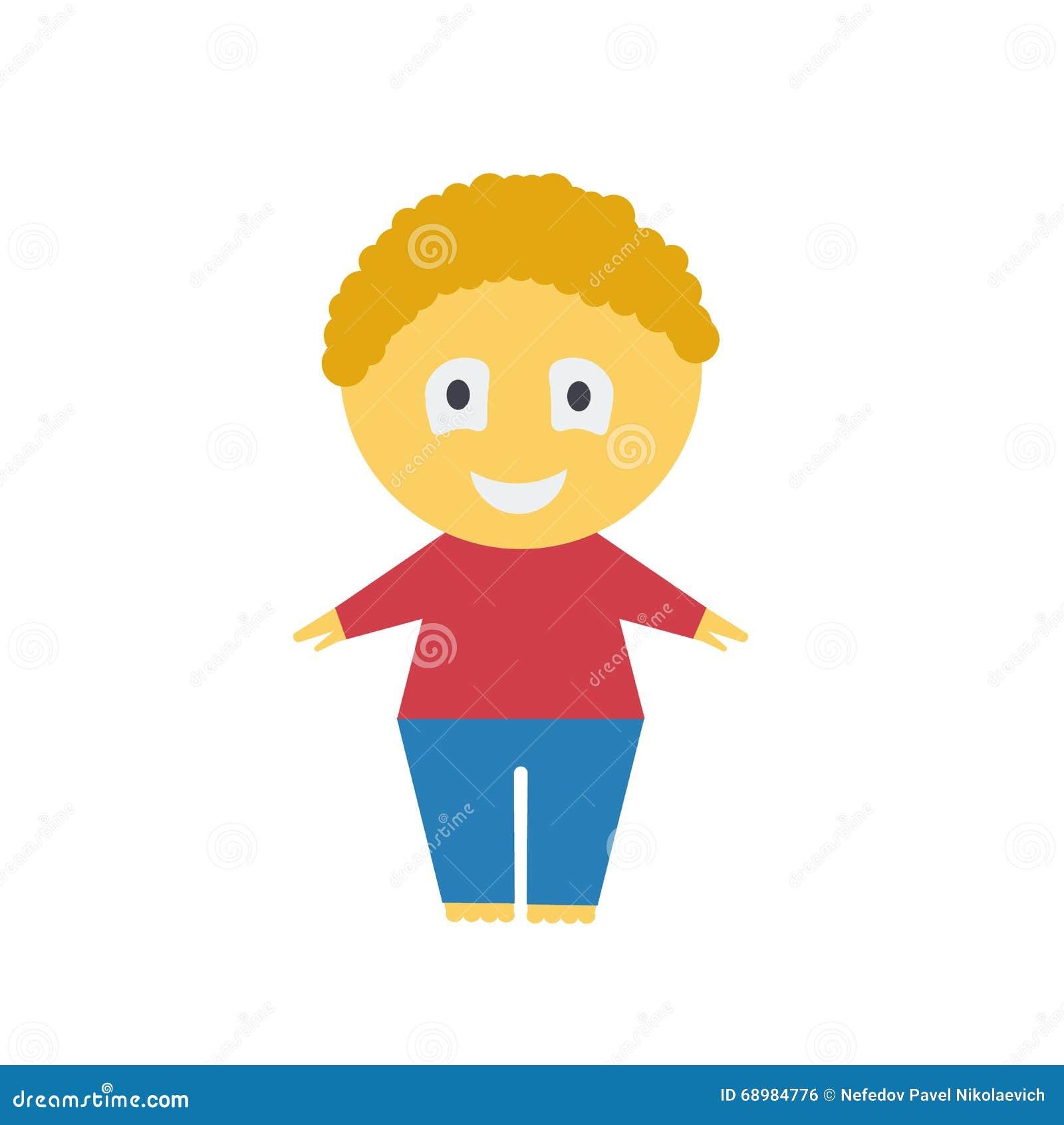 Muchacho de la historieta Ejemplo de un muchacho en un fondo blanco Muchacho pelirrojo alegre Chaqueta roja Pantalones azules