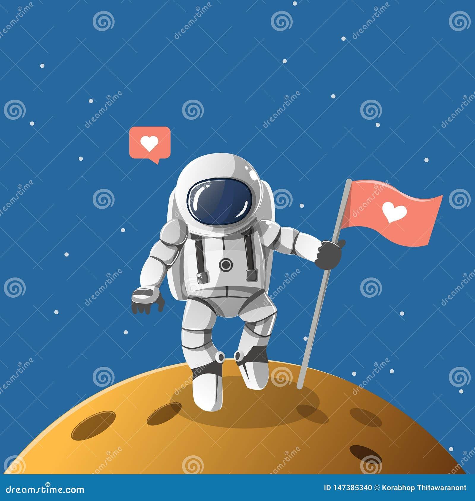 Muchacho del astronauta en el planeta solo