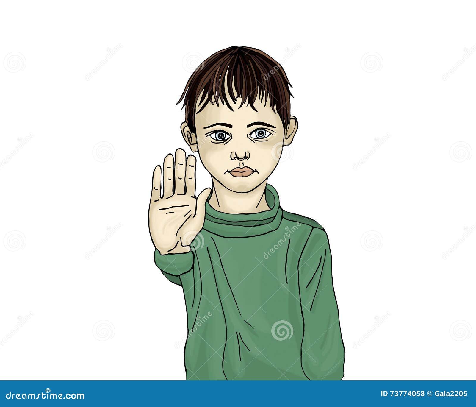 Muchacho enojado e infeliz que muestra a muestra de la mano bastantes Contra violencia