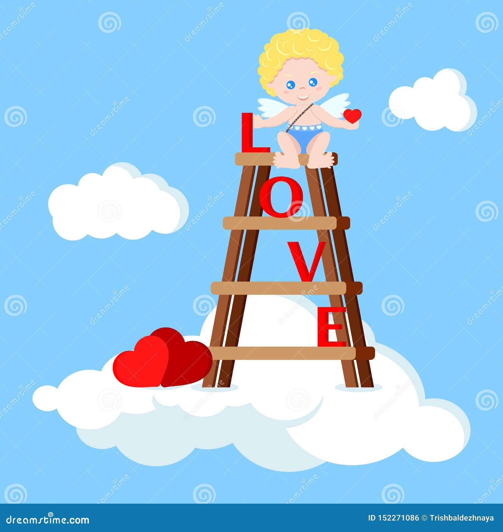 Muchacho lindo del cupido del vector que se sienta en las escaleras con el corazón