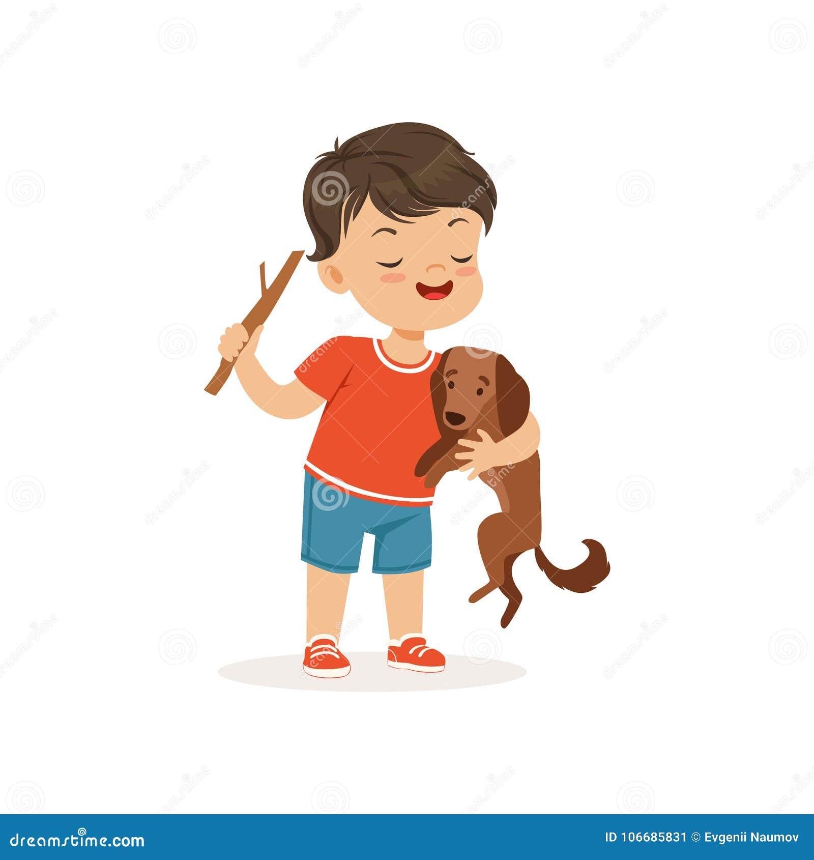 Muchacho lindo del matón que toma el pelo el pequeño perro, niño alegre del matón, mún ejemplo del vector del comportamiento del