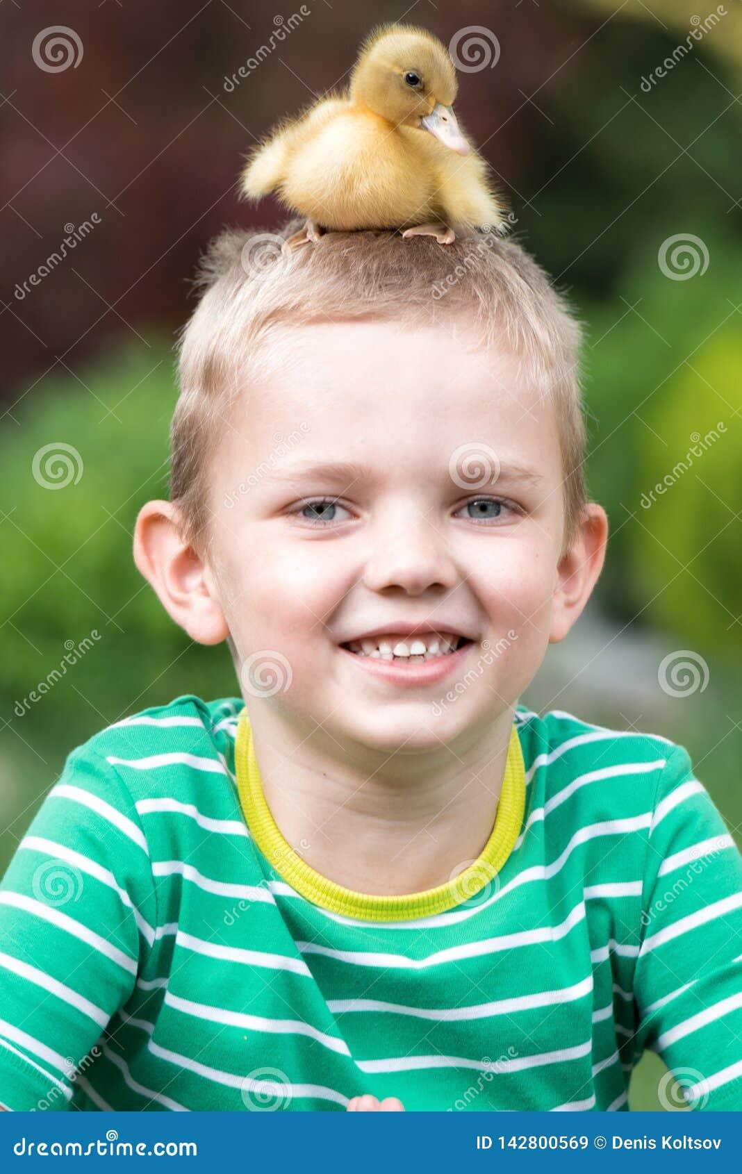 Muchacho que juega con un pequeño anadón Duck sentarse en la cabeza del niño