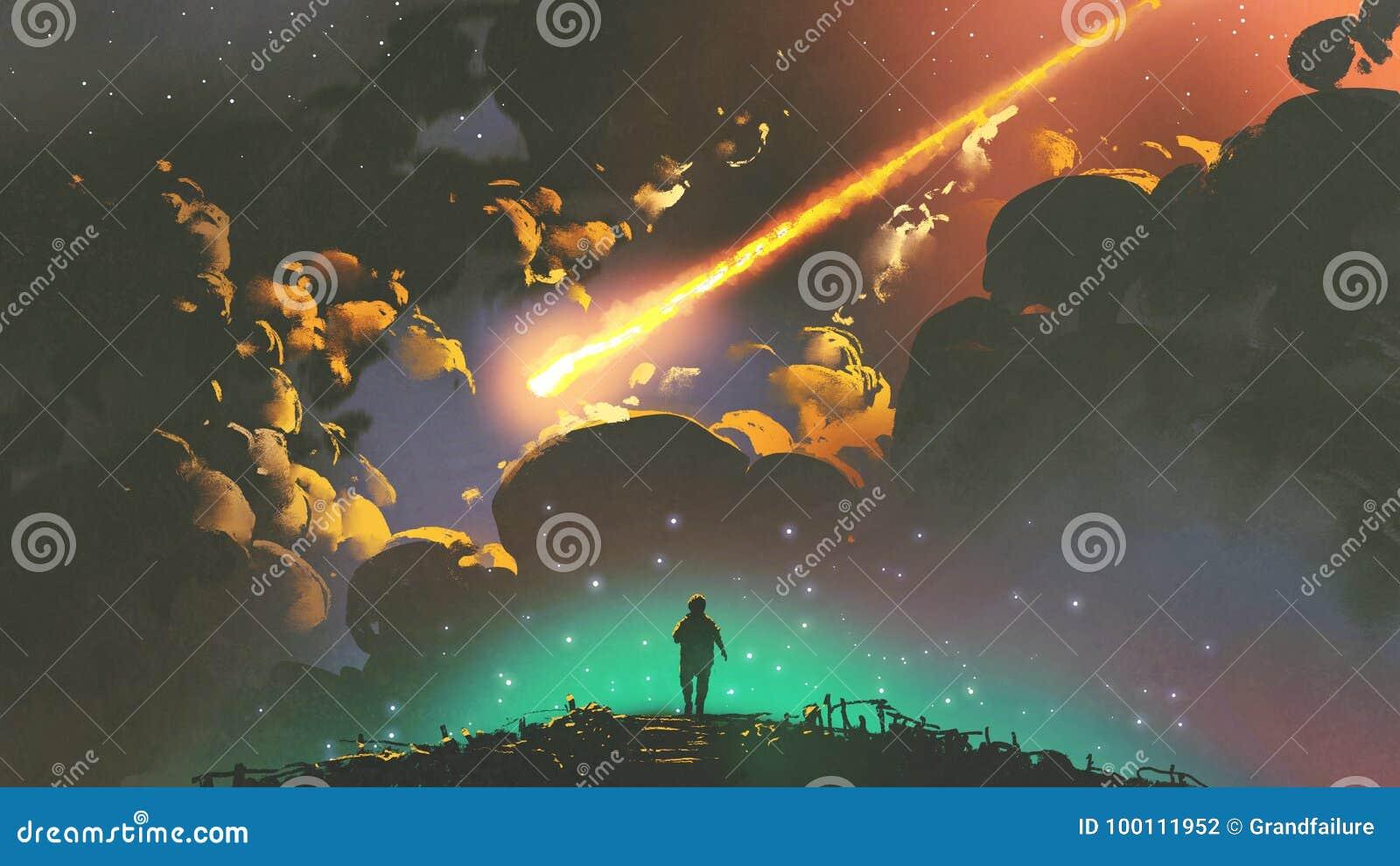 Muchacho que mira el meteorito en el cielo colorido