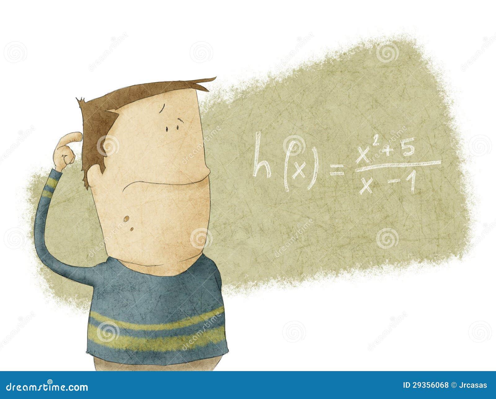Muchacho que mira el problema de matemáticas