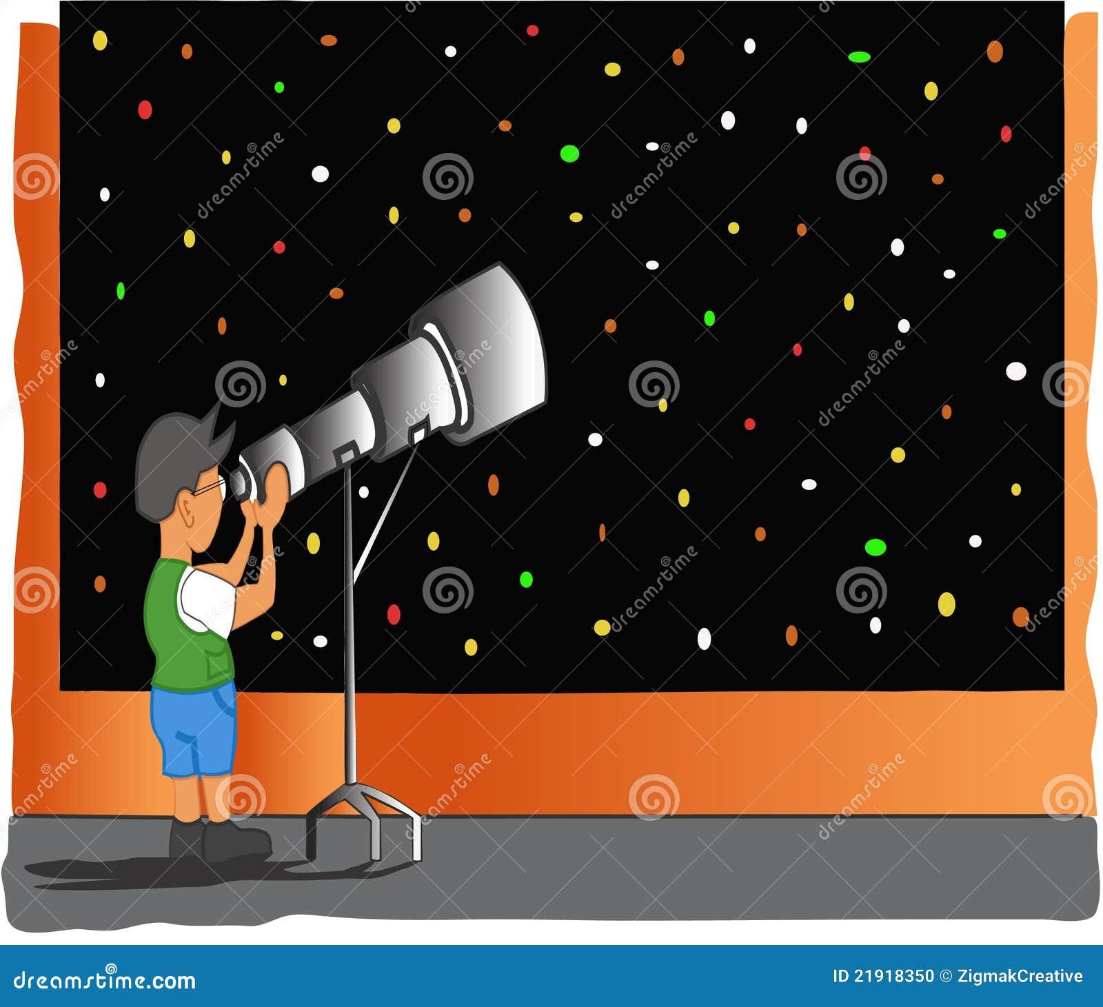 Muchacho que mira en telescopio