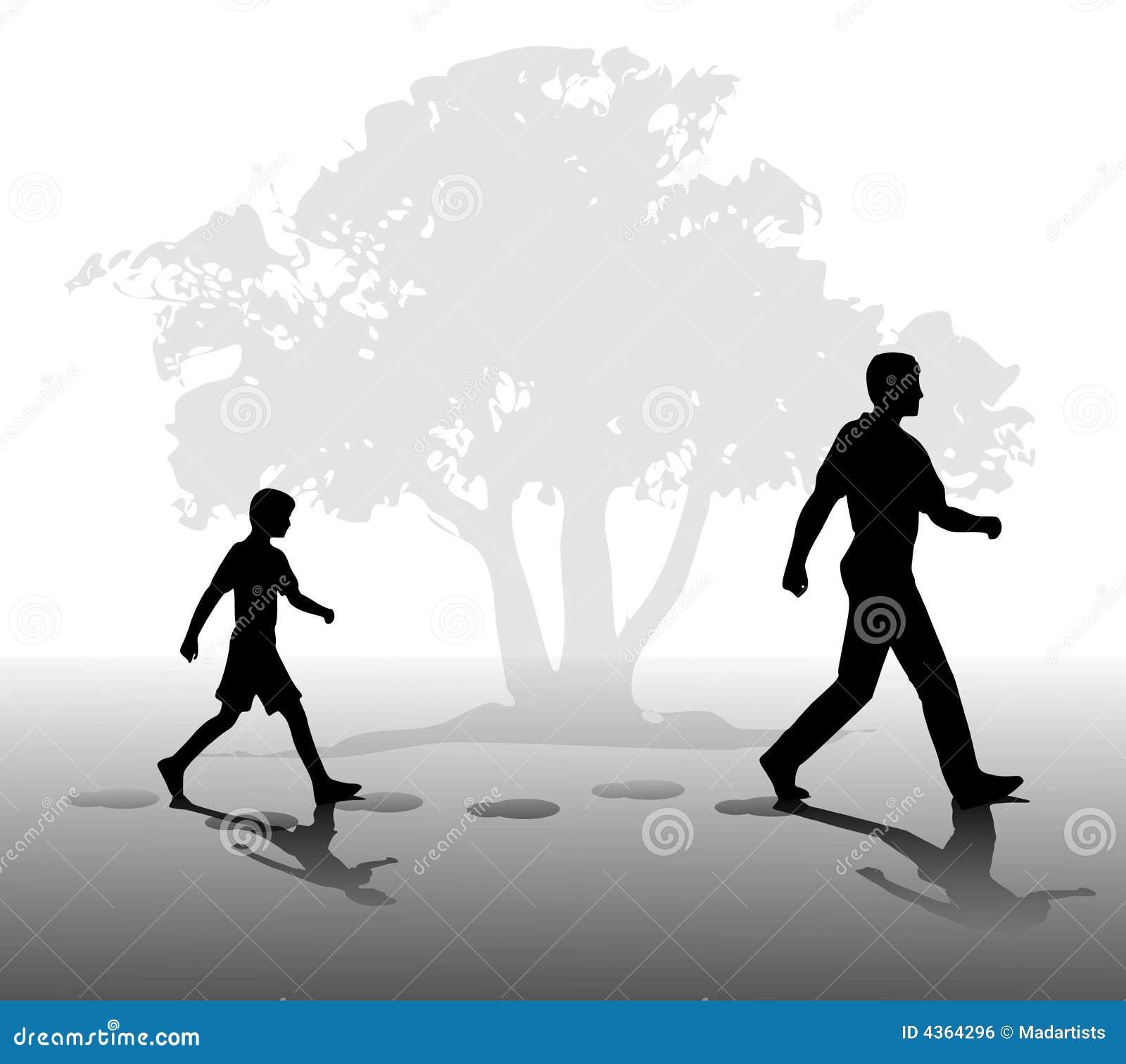 Muchacho que sigue en los pasos del padre