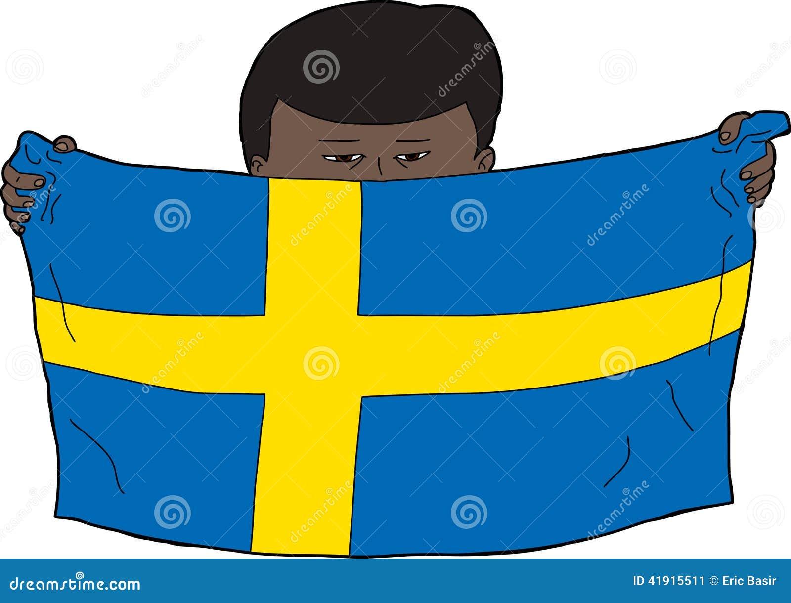 Muchacho sueco que sostiene la bandera