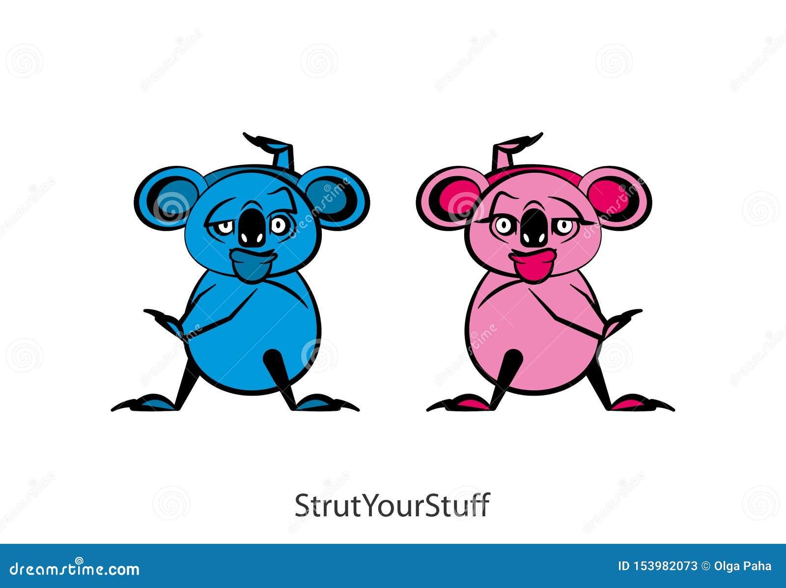 Muchacho y muchacha divertidos del color de la koala
