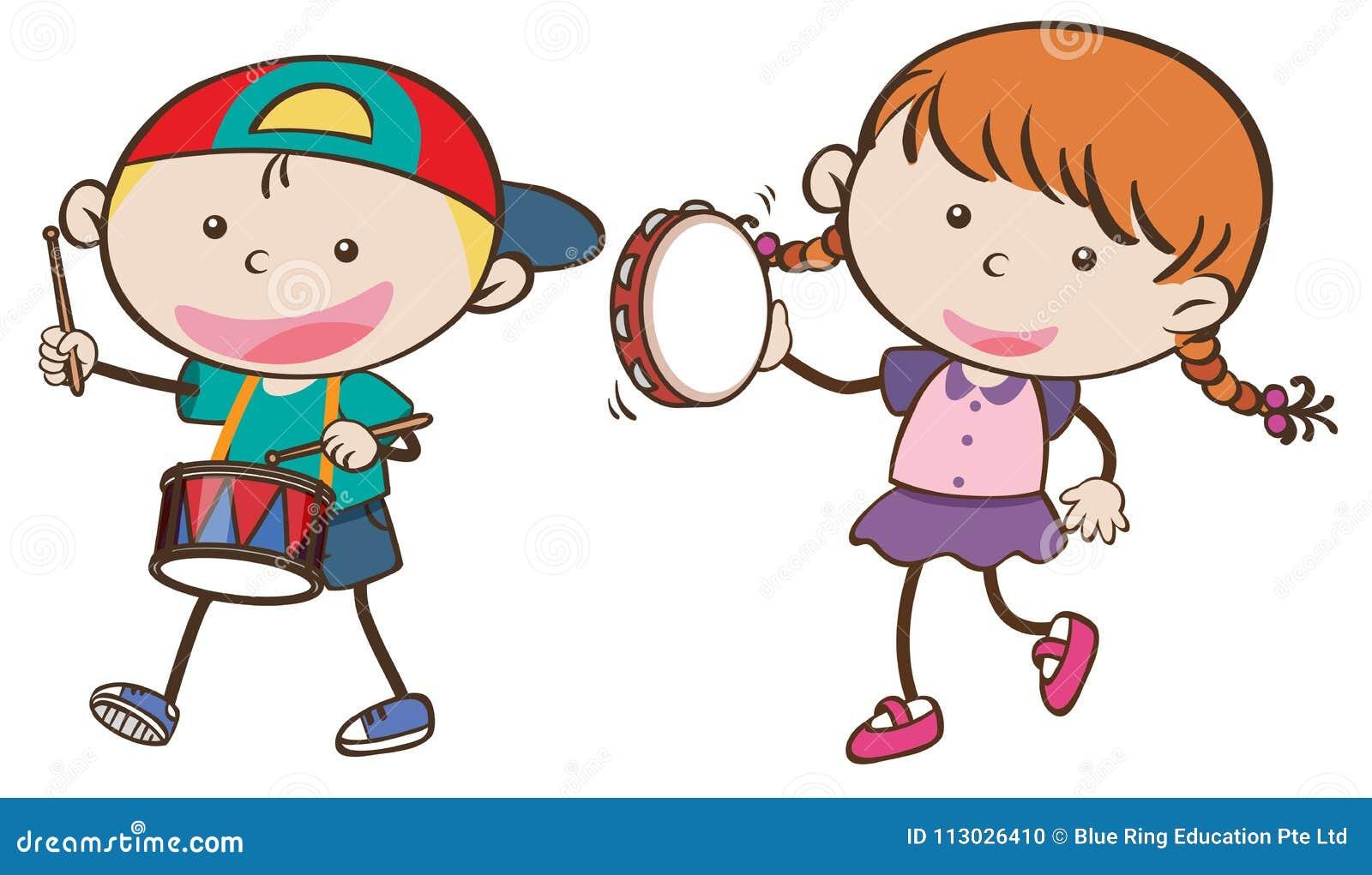 Muchacho y muchacha que tocan los instrumentos musicales