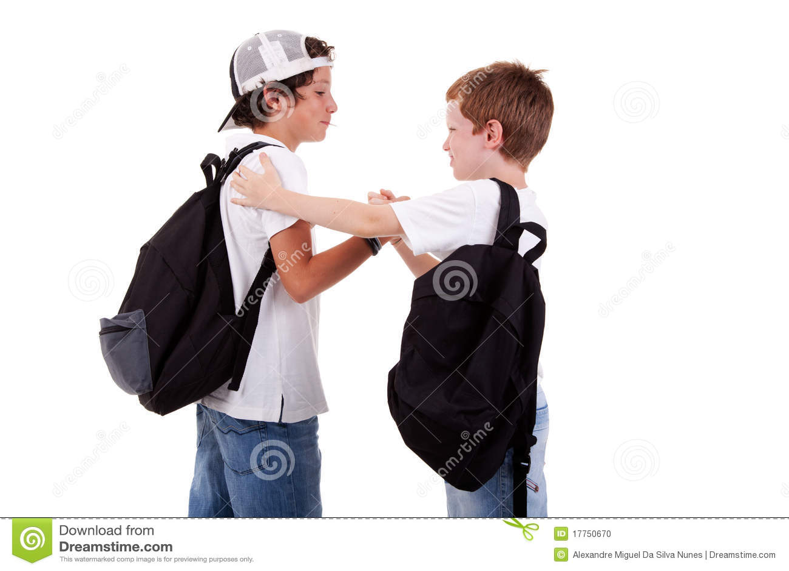 Muchachos Que Van A La Escuela, Saludando Uno Otro Foto de ...