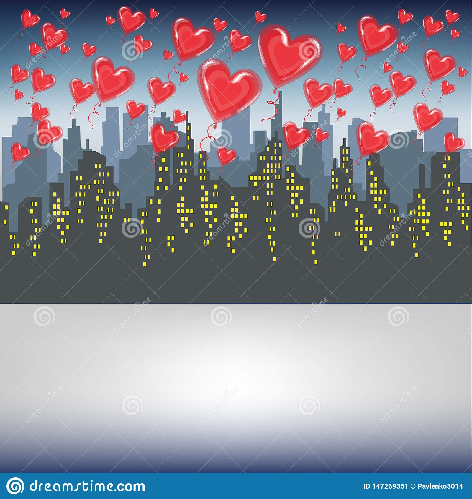 Muchas bolas rojas del gel vuelan contra la silueta de una ciudad grande Cielo brillante de la ma?ana Amantes que celebran el vec