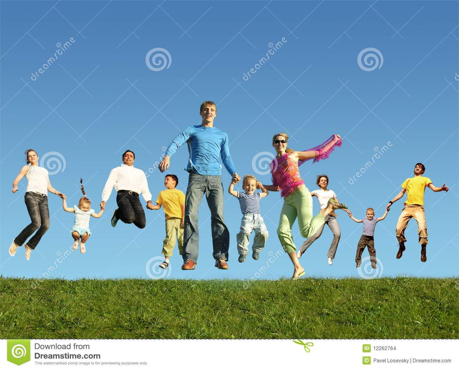Muchas familias de salto en la hierba, collage