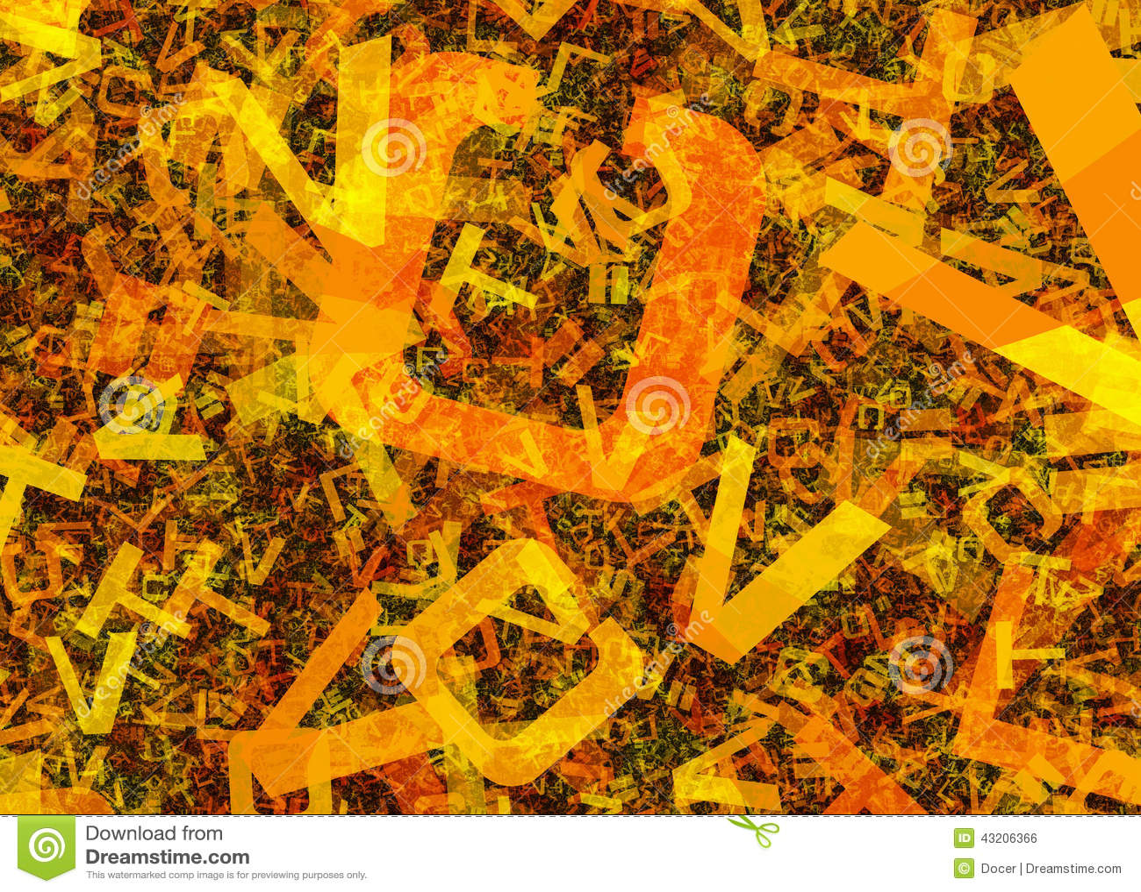 Muchas letras anaranjadas caóticas abstractas del alfabeto