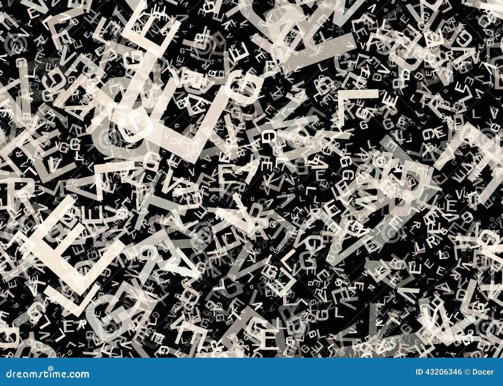 Muchas letras grises caóticas abstractas del alfabeto