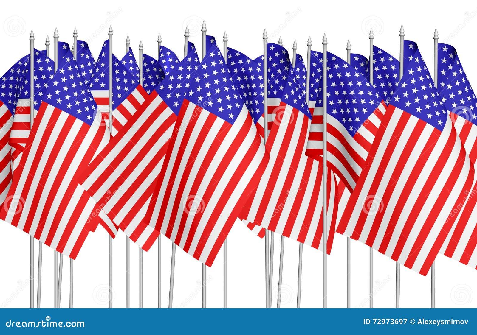 Muchas pequeñas banderas americanas en fila aisladas en blanco