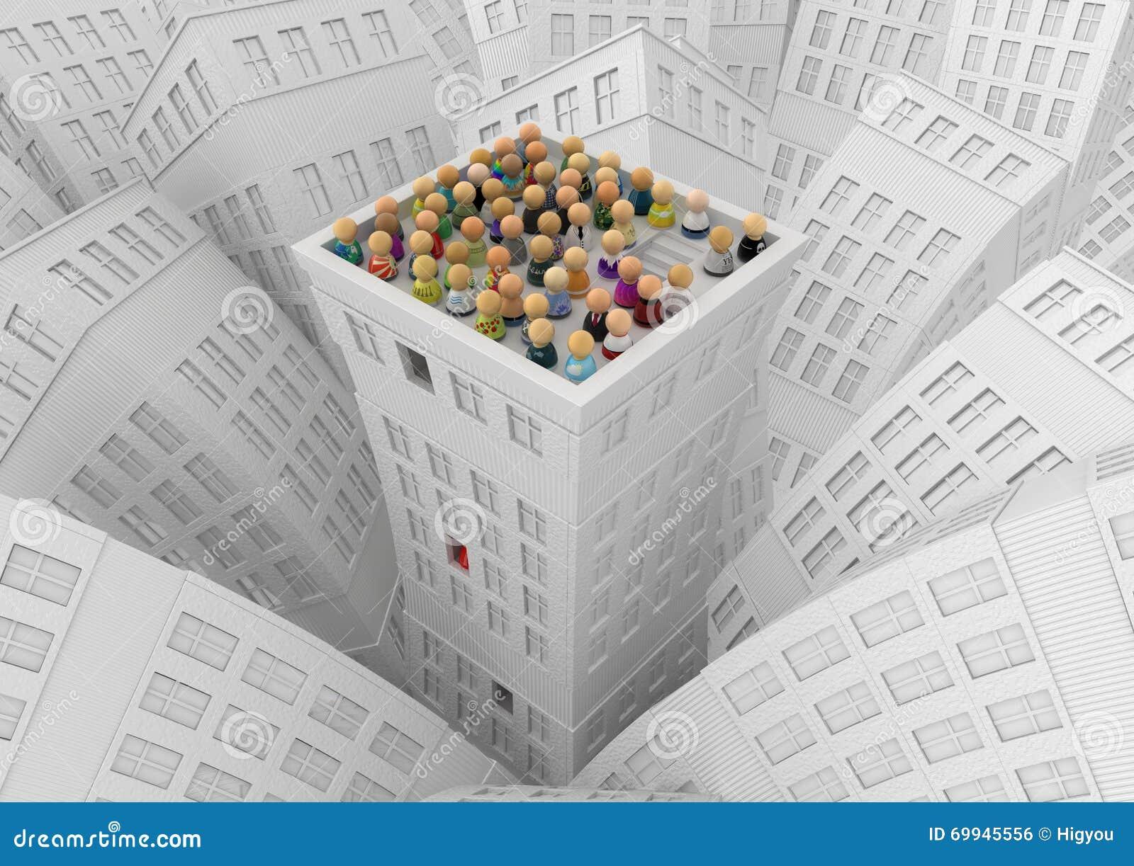 Muchedumbre de la historieta, tejado del edificio de la ciudad