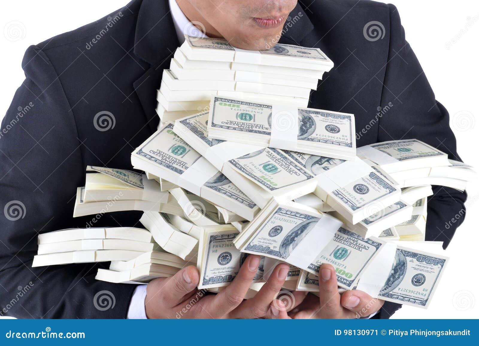 Mucho Dinero En Las Manos De Un Hombre De Negocios Joven Imagen De