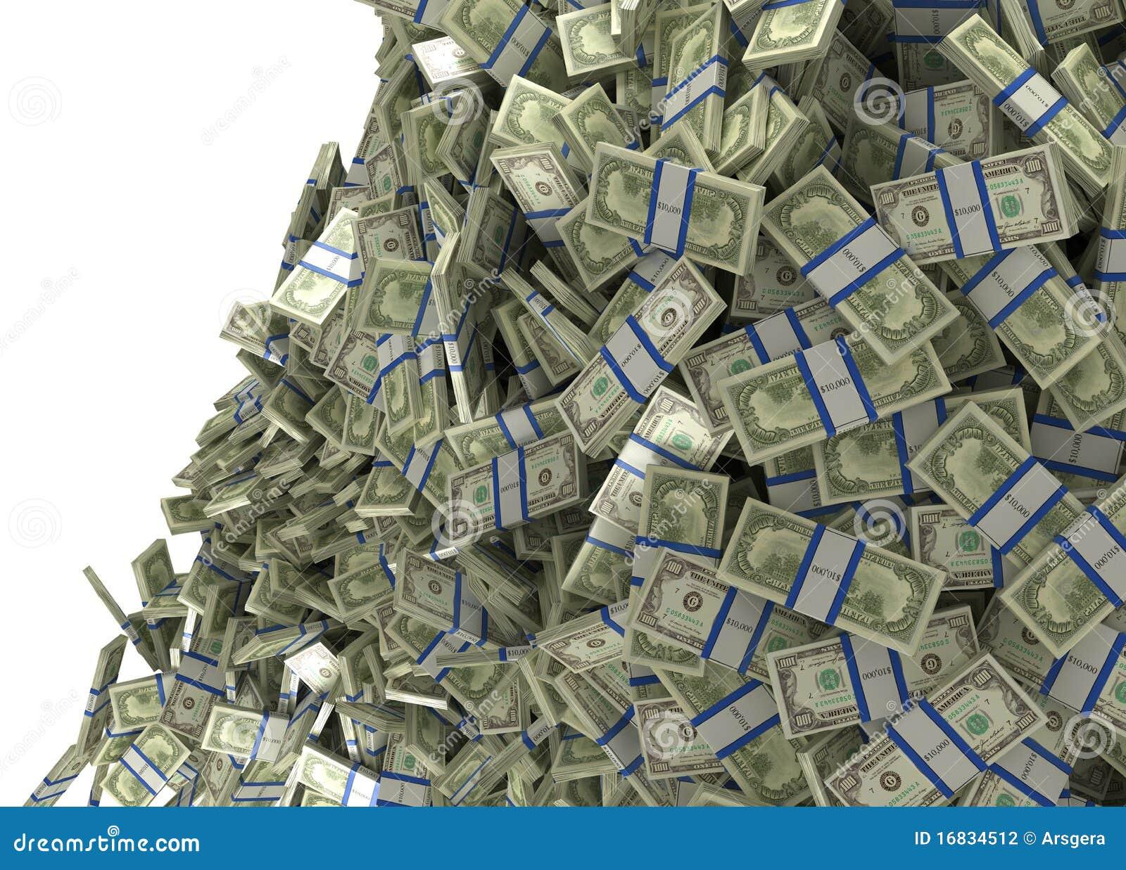 Mucho Dinero Y Abundancia El Caer De Los Manojos De Dólar Americano