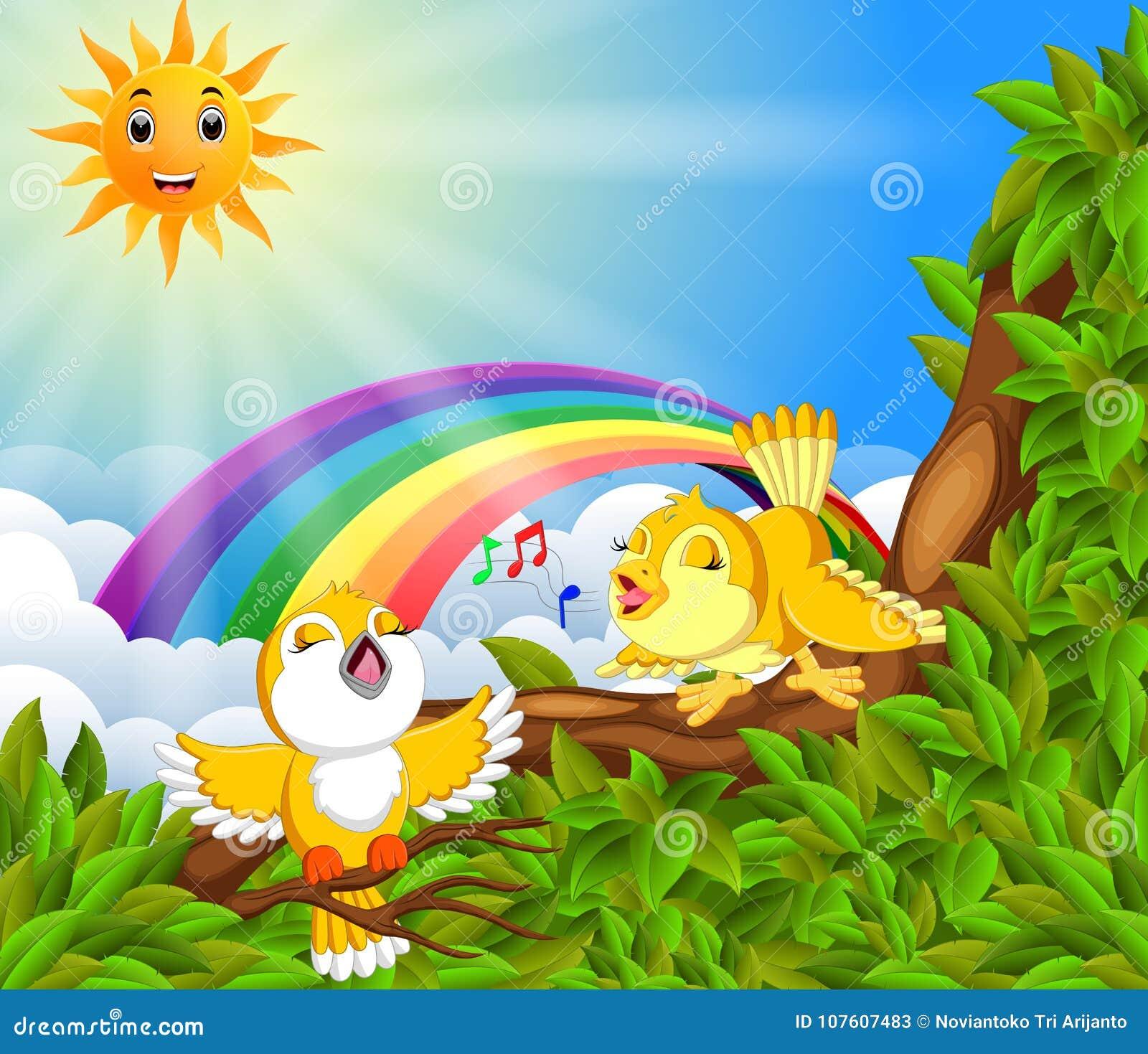 Mucho pájaro en la rama de árbol con escena del arco iris
