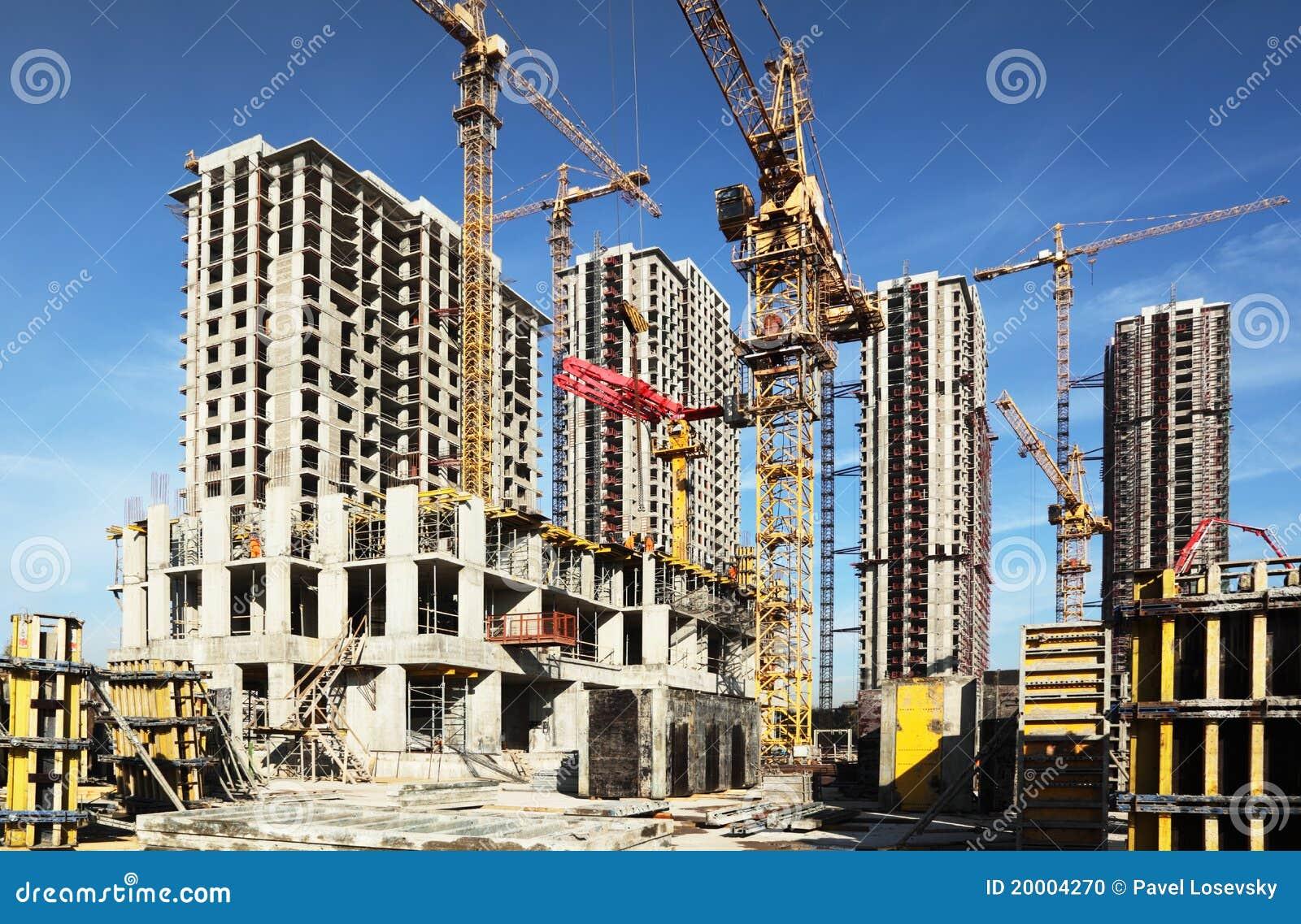 Muchos edificios altos bajo la construcci n y gr as foto for Videos de construccion de edificios
