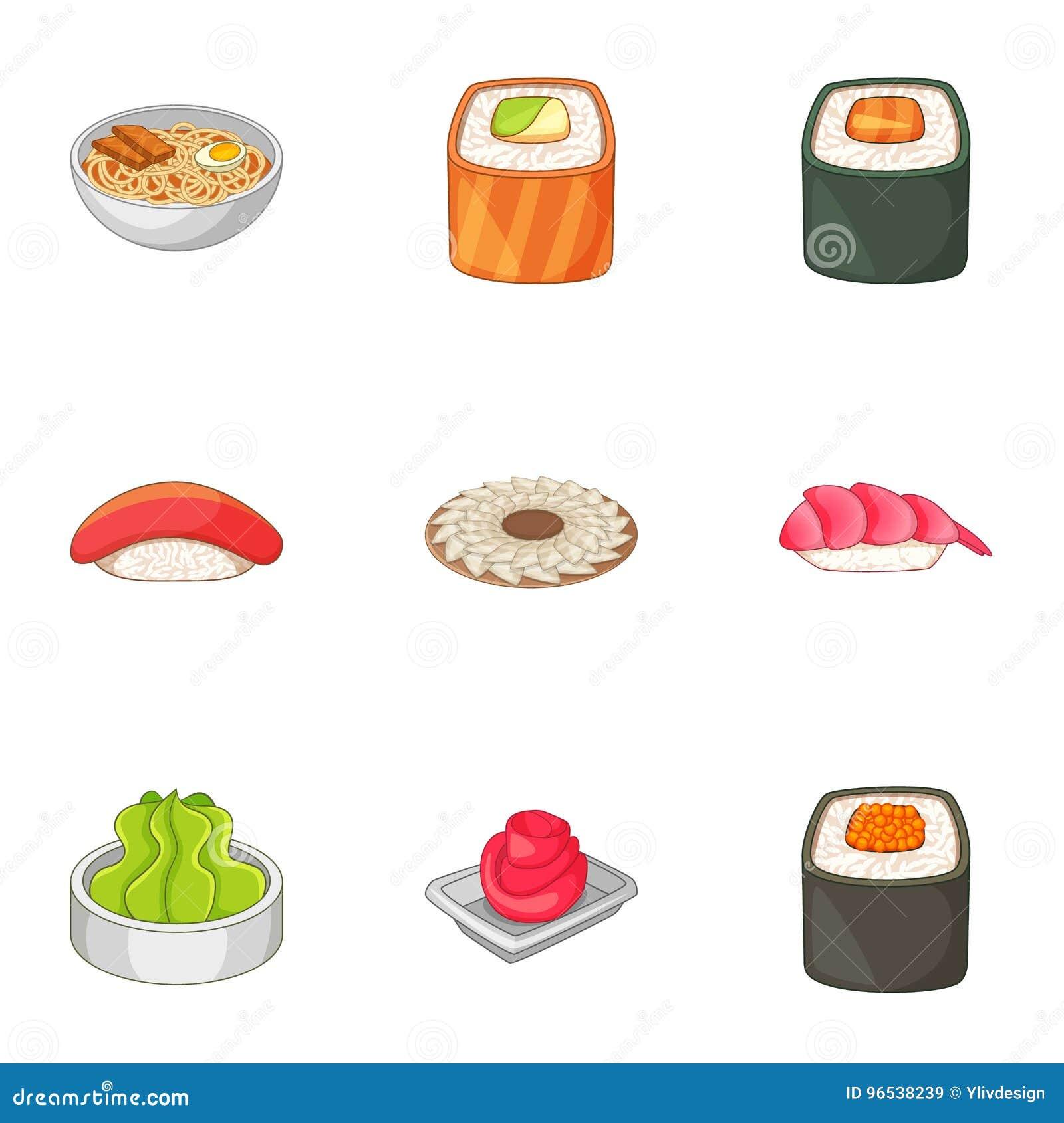 Muchos iconos asiáticos de la comida del sushi fijaron, estilo de la historieta
