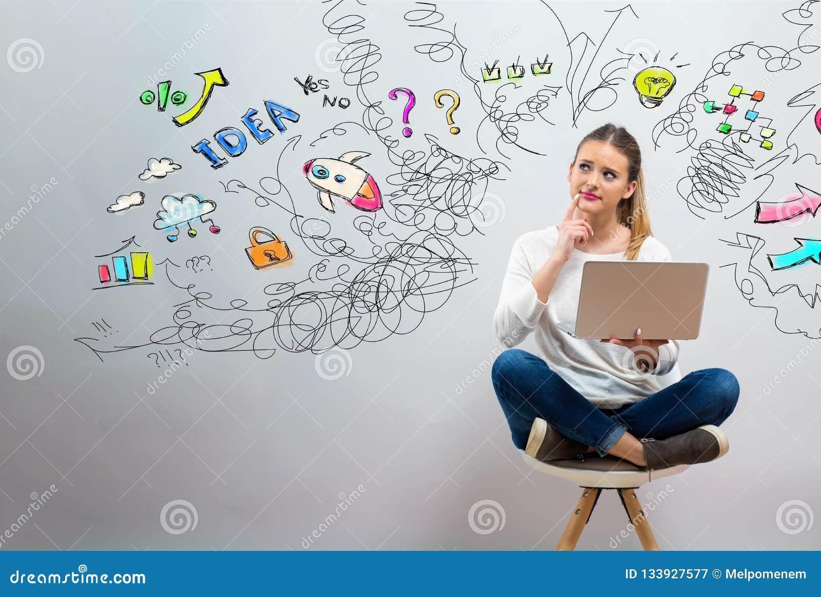 Muchos pensamientos con la mujer joven usando su ordenador portátil