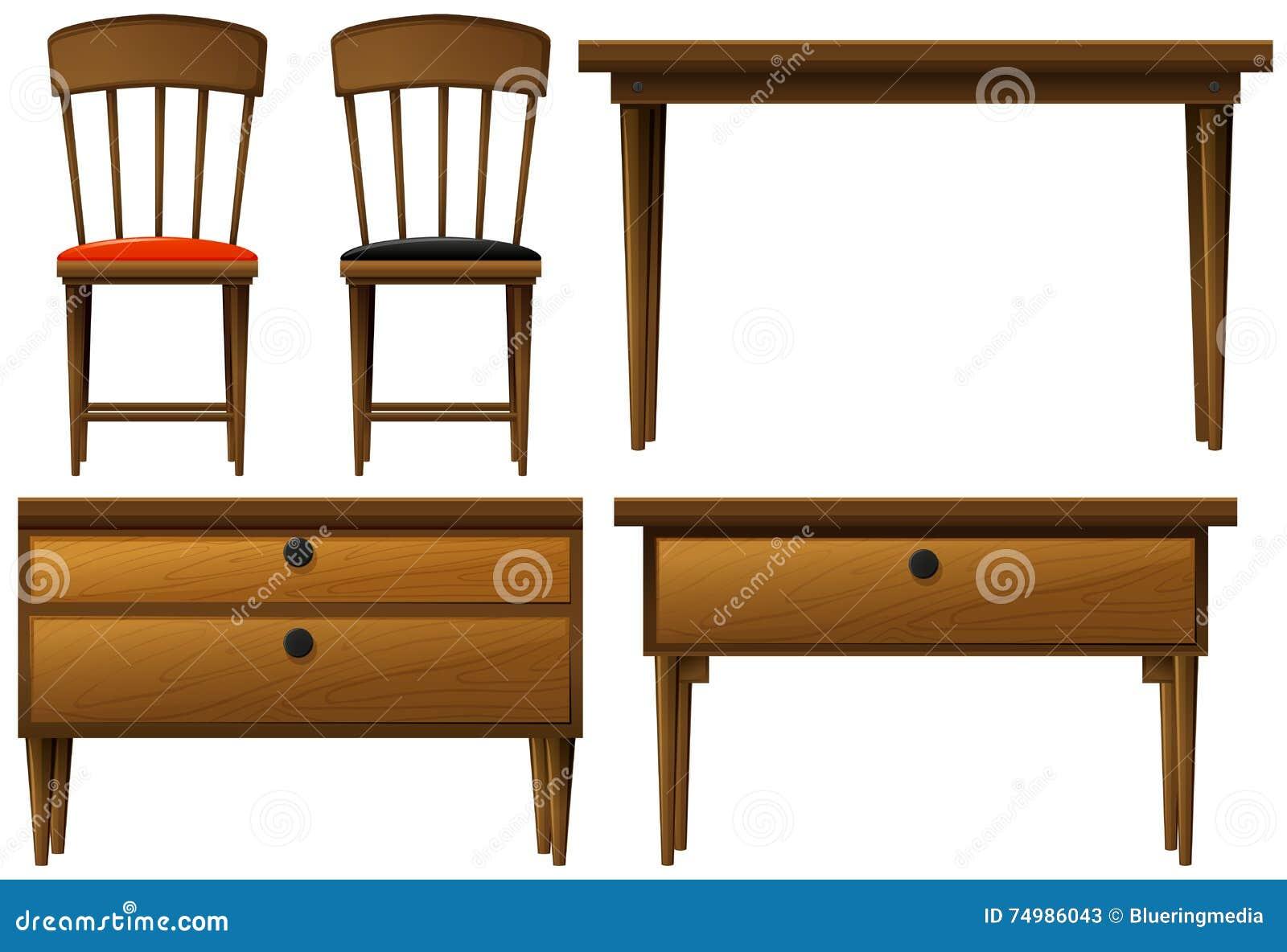muchos tipos de muebles de madera ilustraci n del vector