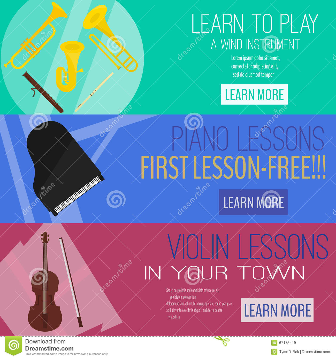 Mucic Lesson Banner Flat Raster Set,wind Instrument ,piano