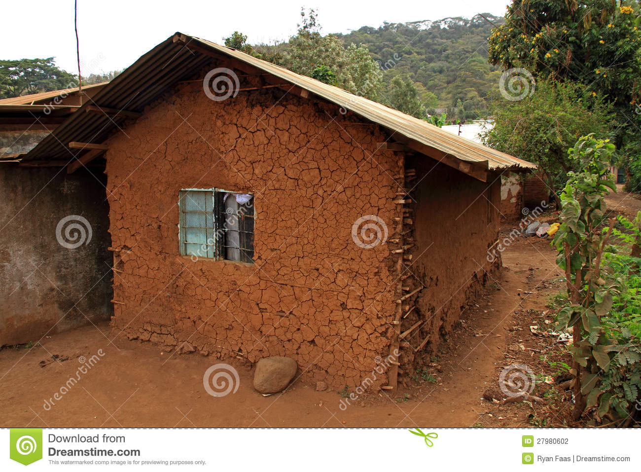 Mud House In Africa Stock Photo Image Of Window Trees