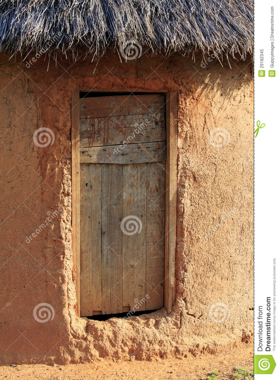 Mud Hut Wooden Door Royalty Free Stock Photo Image 29182345