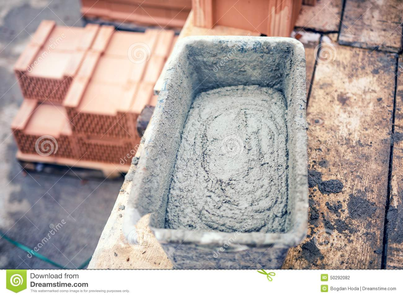 Mud Pan With Cement Mortar And Tools For Bricklaying On Construction Site Stock Photo Image