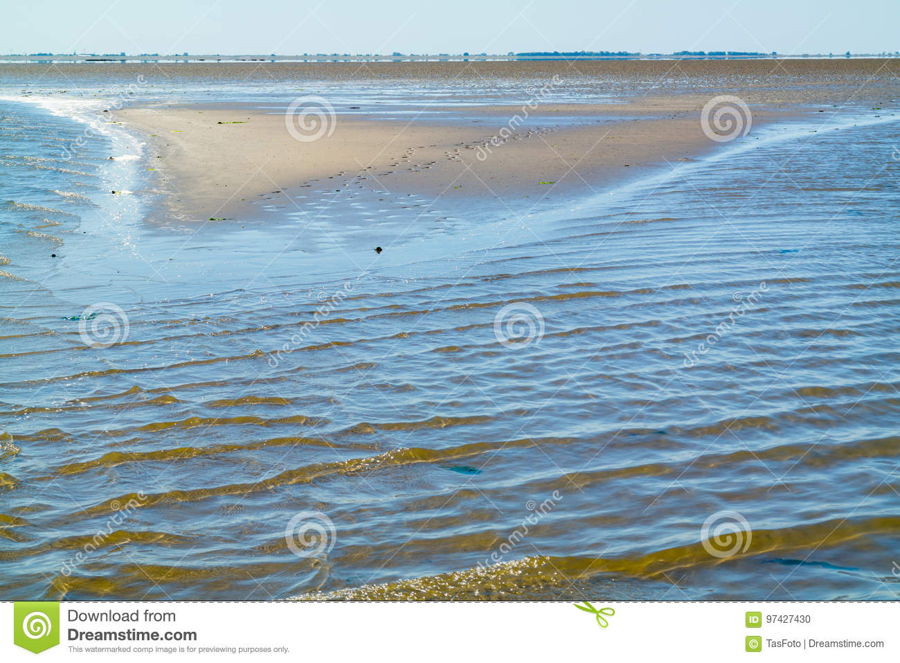 Mud and sand flats, mirage and rippling shallow water on Waddensea, Netherlands