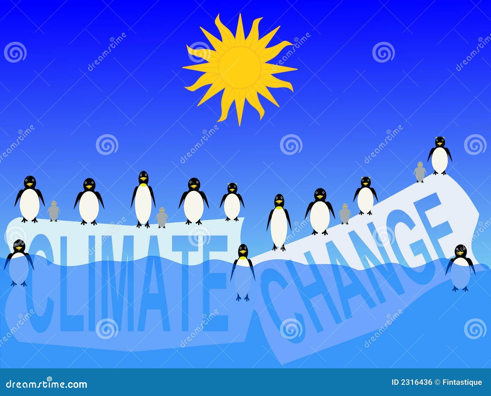 Mudança de clima com pinguins