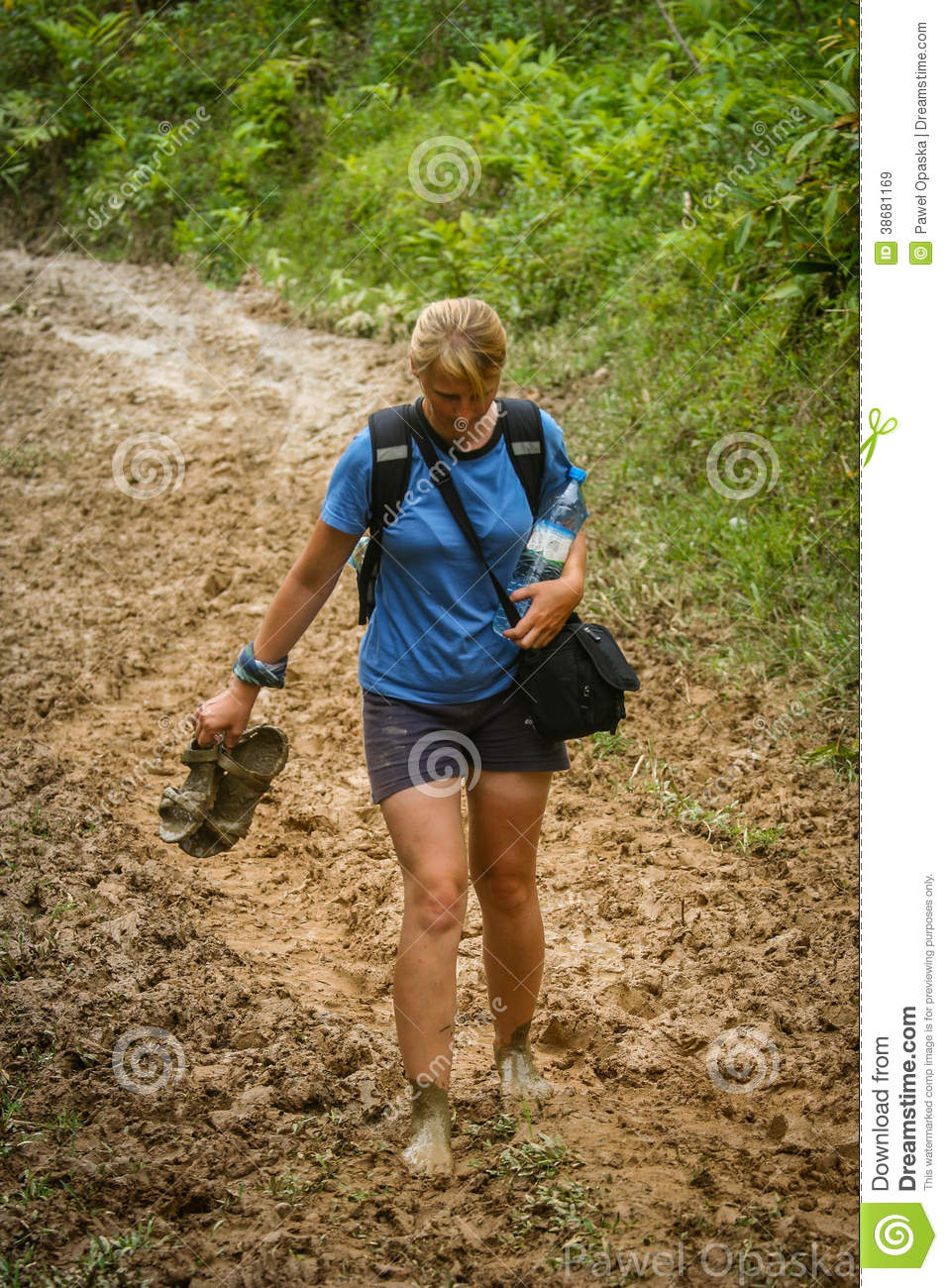 Woman Trail Running In Mountains Stock Images - Image