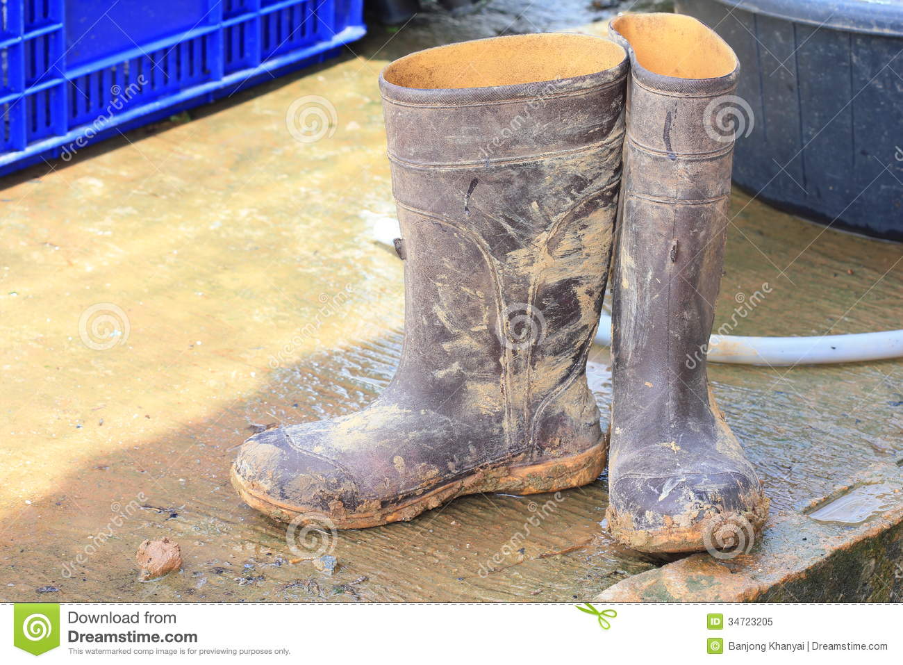 Muddy Rubber Boots Stock Image Image Of Footwear