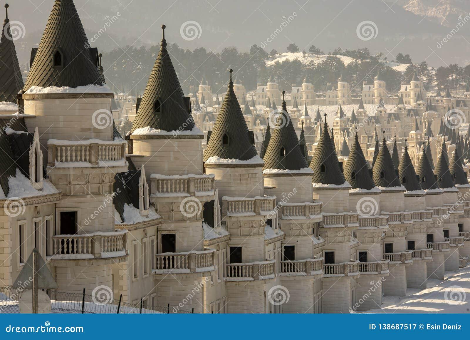 Mudurnu / Bolu / Turkey, 18 January, 2019, Chateau Houses, Burj Al Babas  Editorial Photography - Image of european, season: 138687517