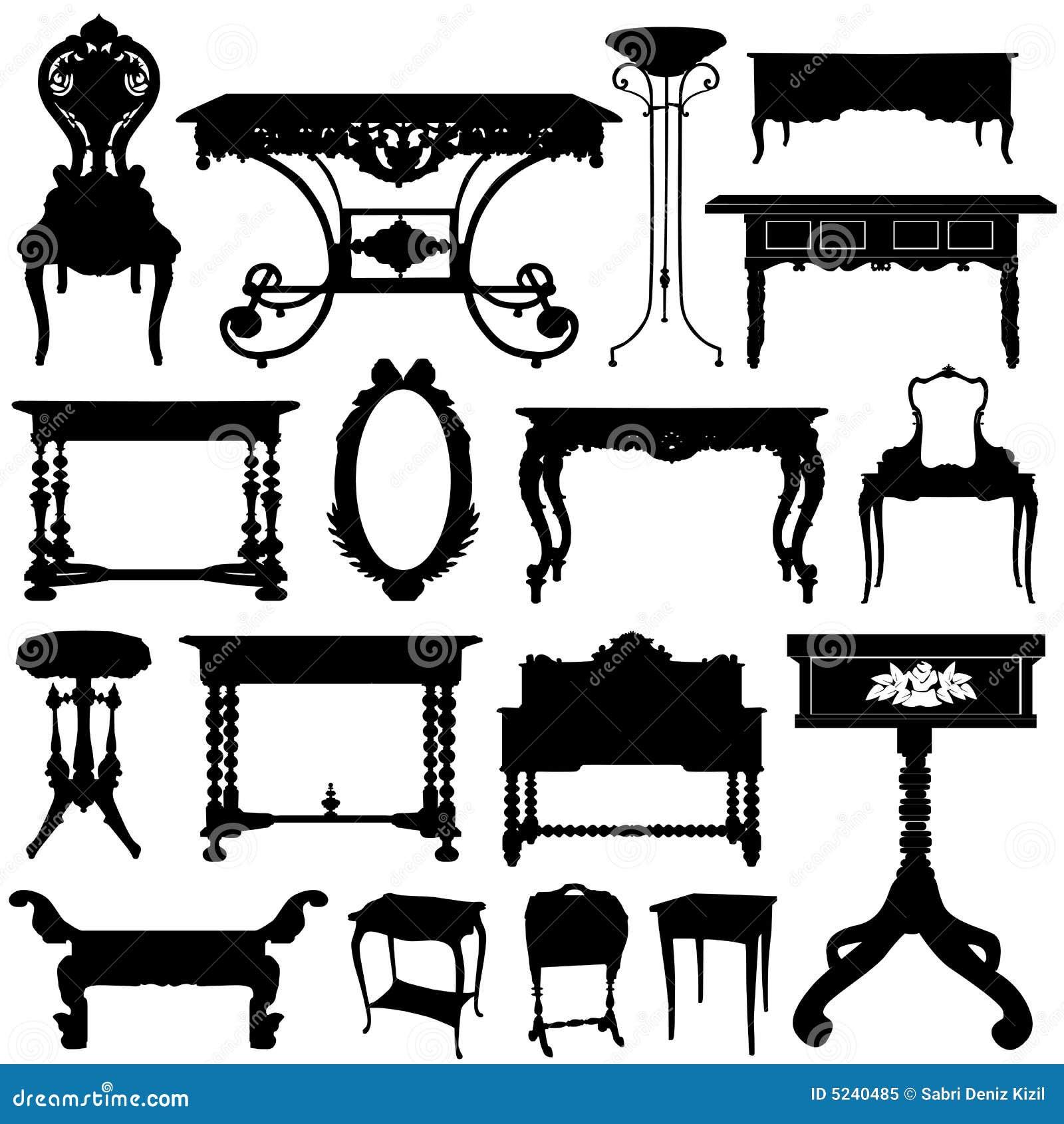 Muebles antiguos ilustración del vector. Ilustración de colores ...