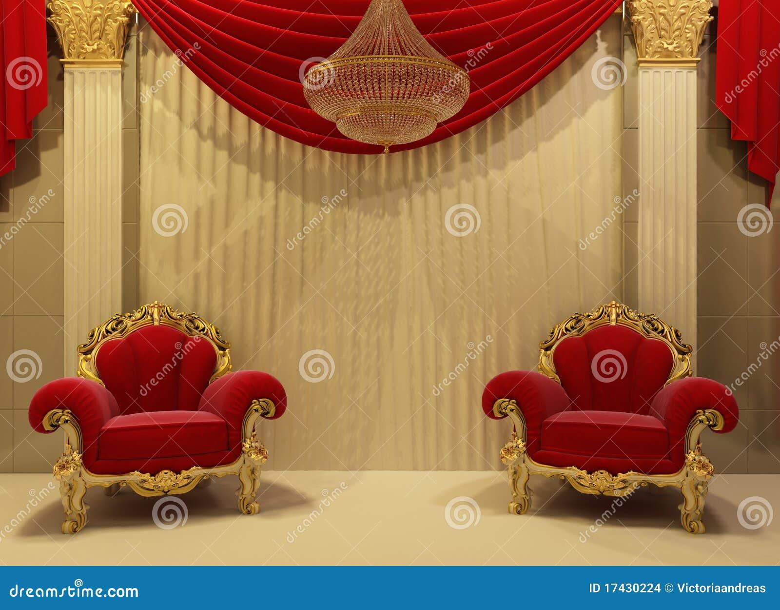 Muebles barrocos en interior real Imagenes de archivo