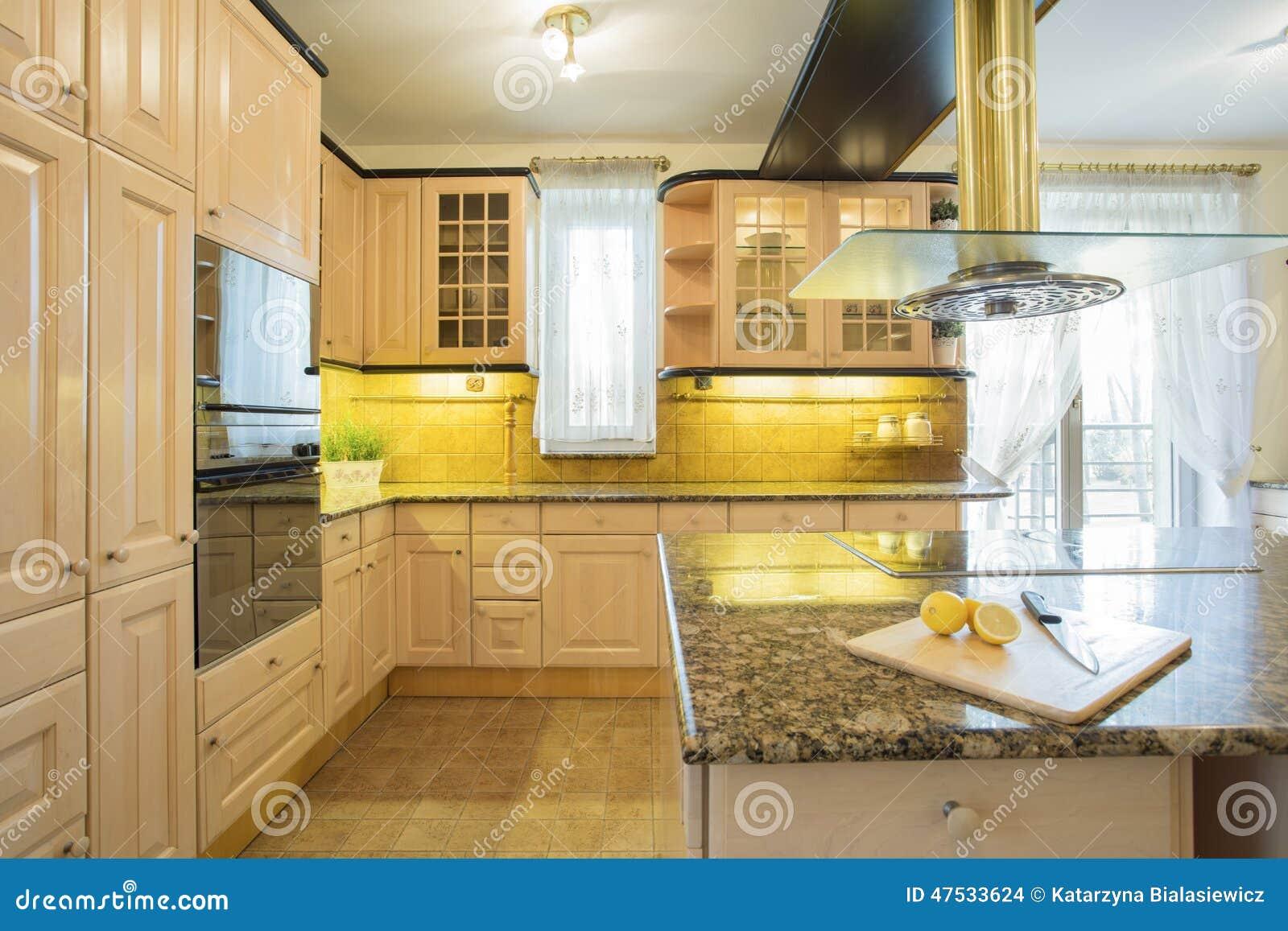Muebles beige en cocina de lujo foto de archivo imagen - Muebles de cocina de lujo ...