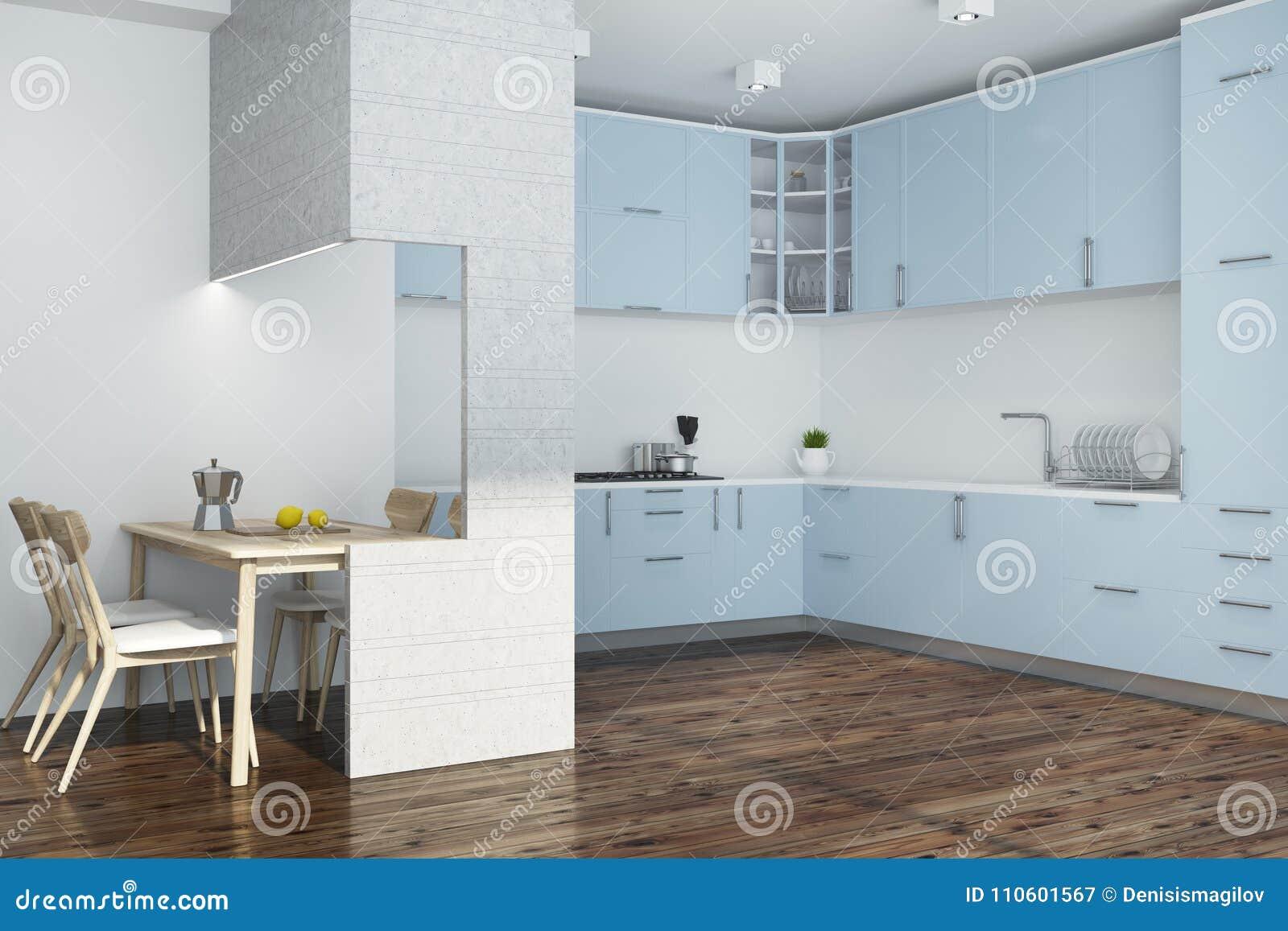 Muebles Blancos De La Esquina De La Cocina, Azules Y Blancos ...