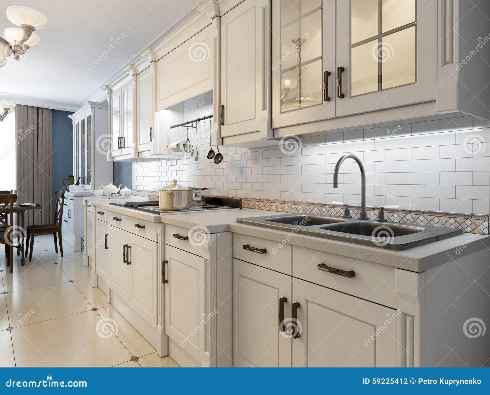Download Muebles Blancos En Cocina Mediterránea Stock de ilustración - Ilustración de muebles, horno: 59225412